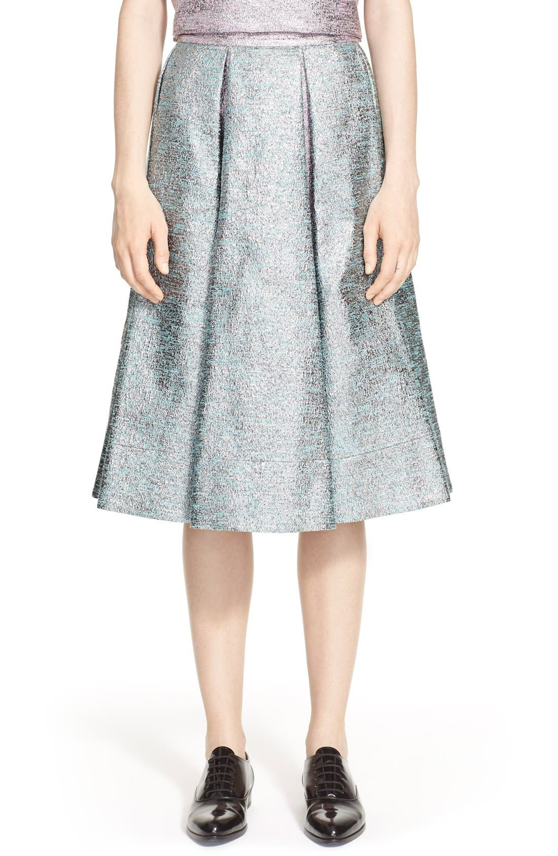 Main Image - PASKAL Metallic Inverted Pleat Flared Skirt
