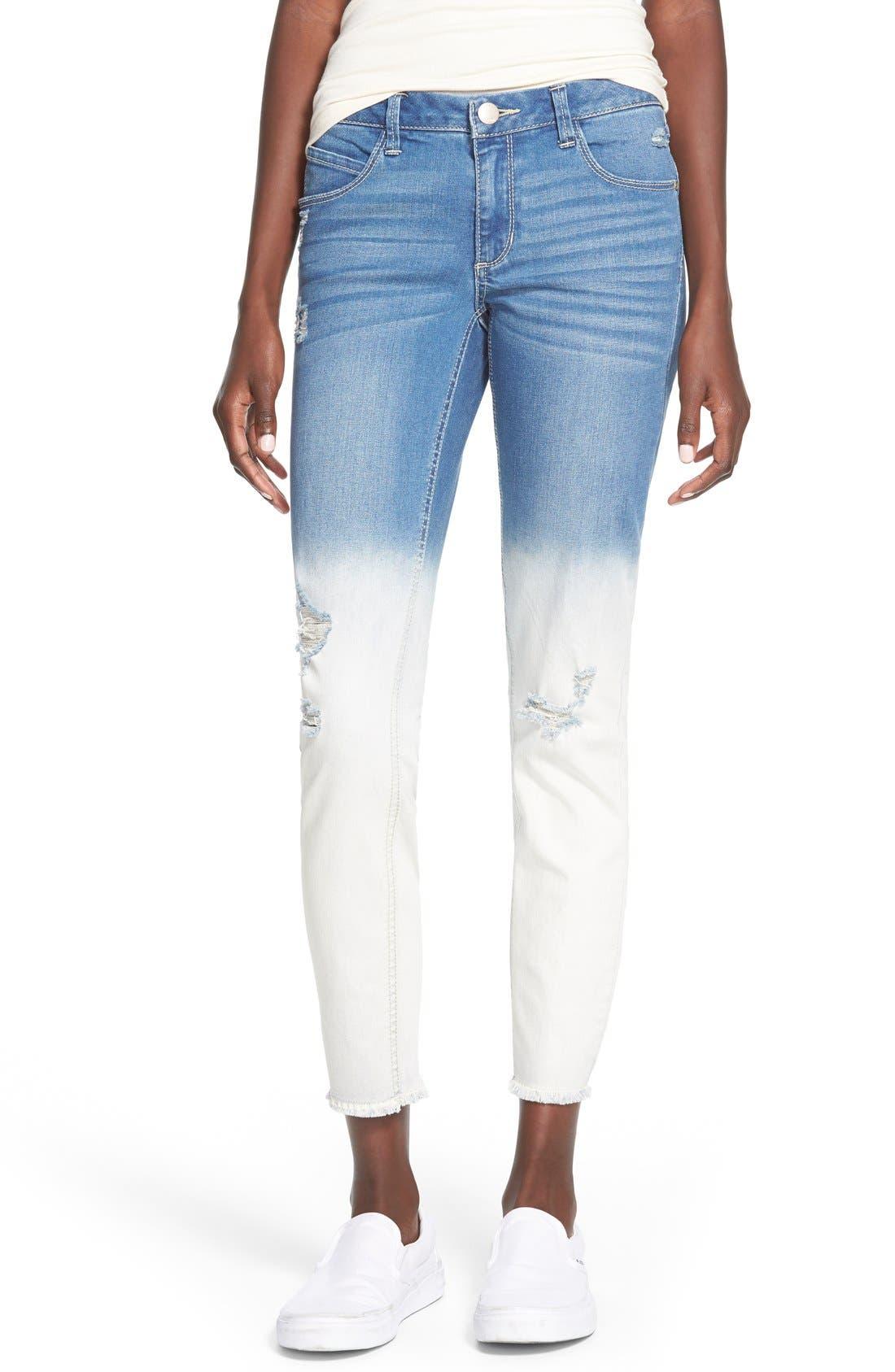 Main Image - Generra Dip Bleached Destroyed Skinny Jeans