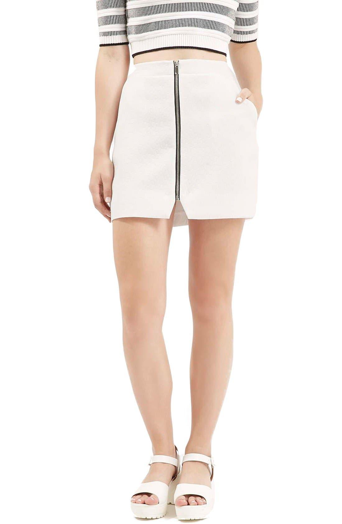 Main Image - Topshop Geo Texture Miniskirt