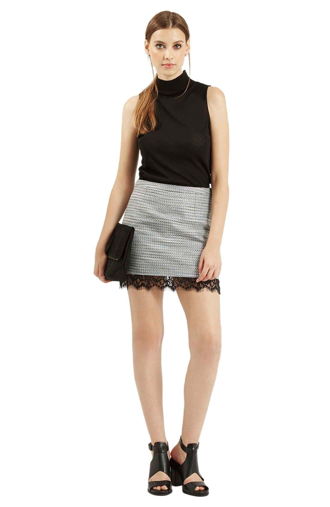 Alternate Image 2  - Topshop Lace Hem Bouclé A-Line Skirt