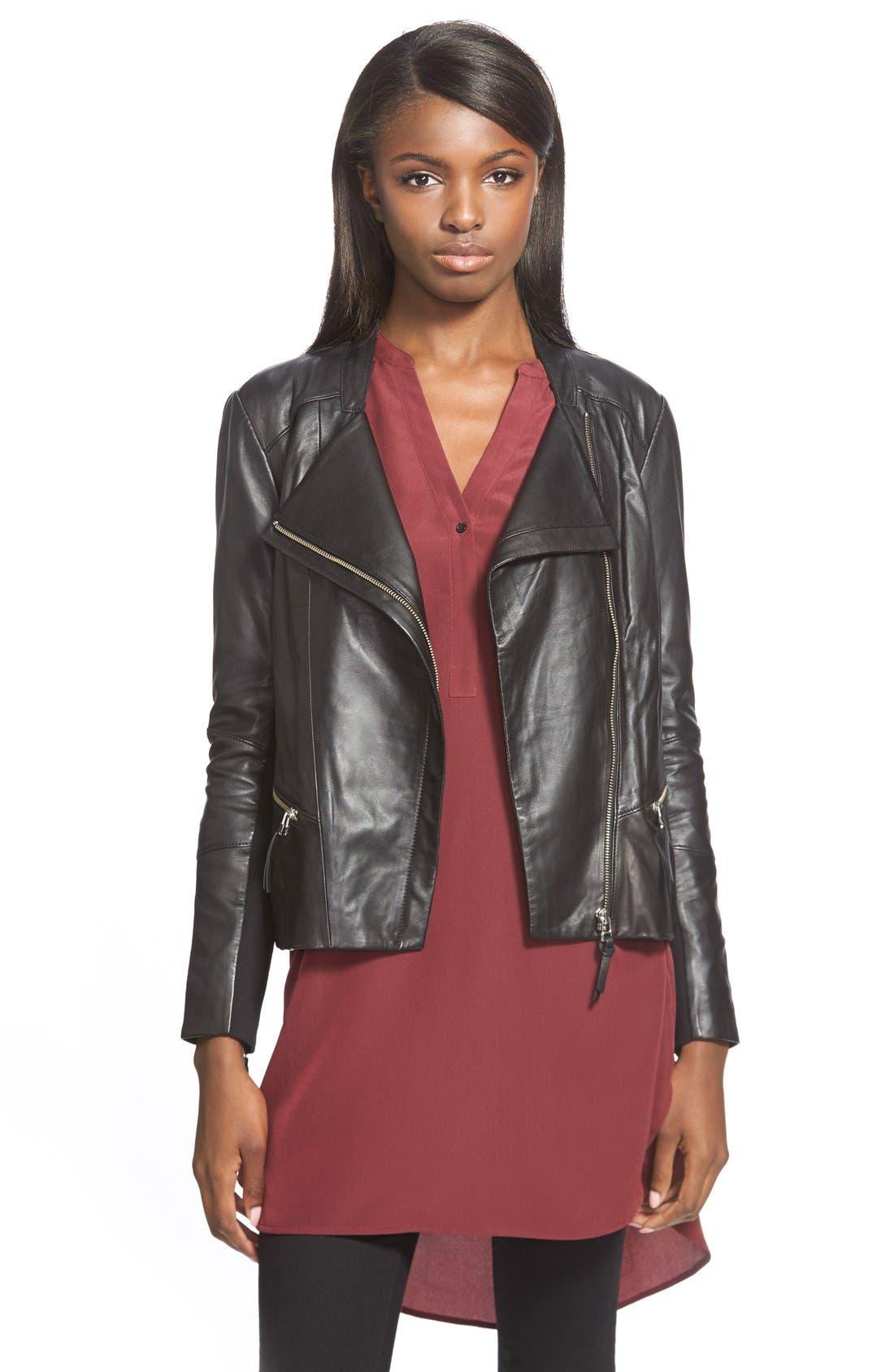 Main Image - Trouvé Zip Sleeve Leather Jacket