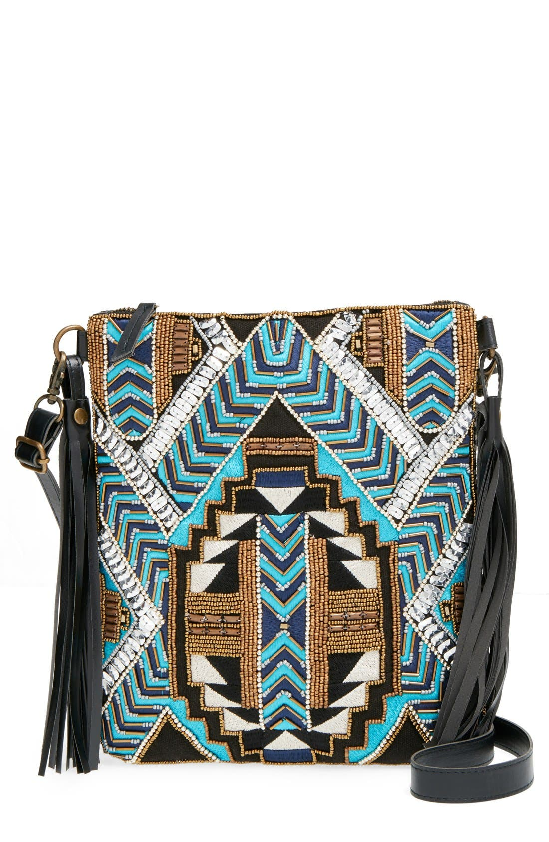 Main Image - Big Buddha Geo Beaded Crossbody Bag