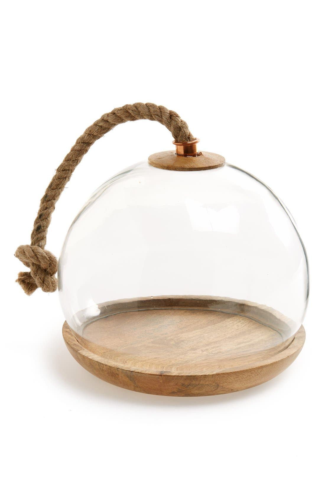 THIRSTYSTONE 'Urban Farm' Glass Domed Wooden Serving Tray