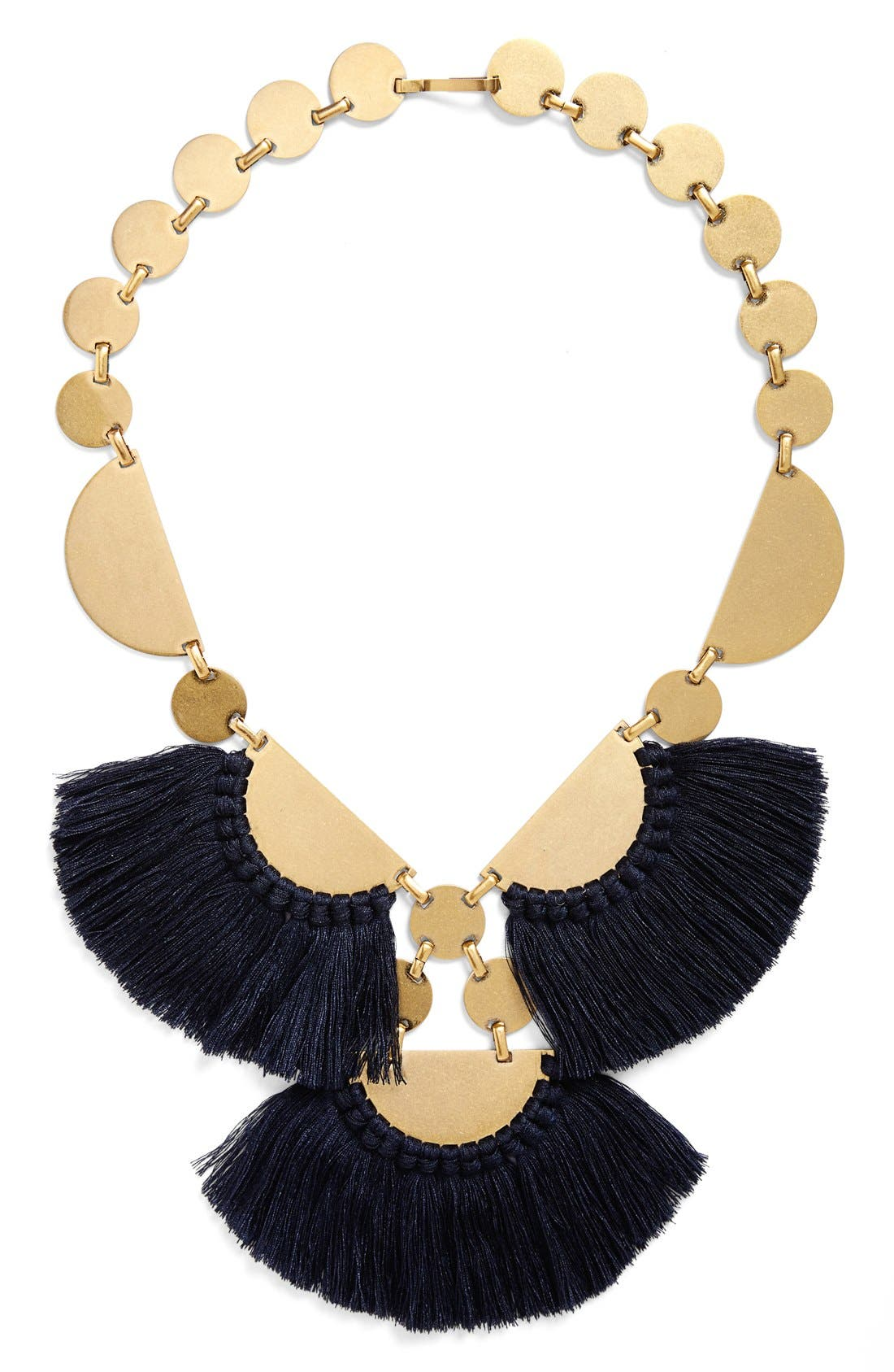 Main Image - Tory Burch 'Fringe Disc' Statement Necklace