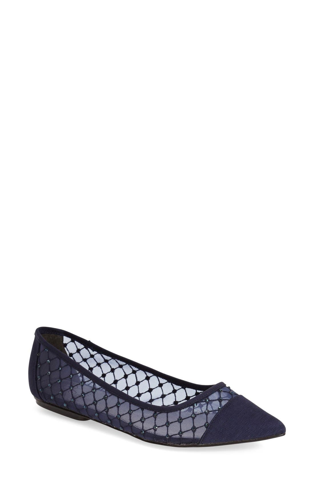 Main Image - Adrianna Papell Jeweled Mesh Ballet Flat (Women)