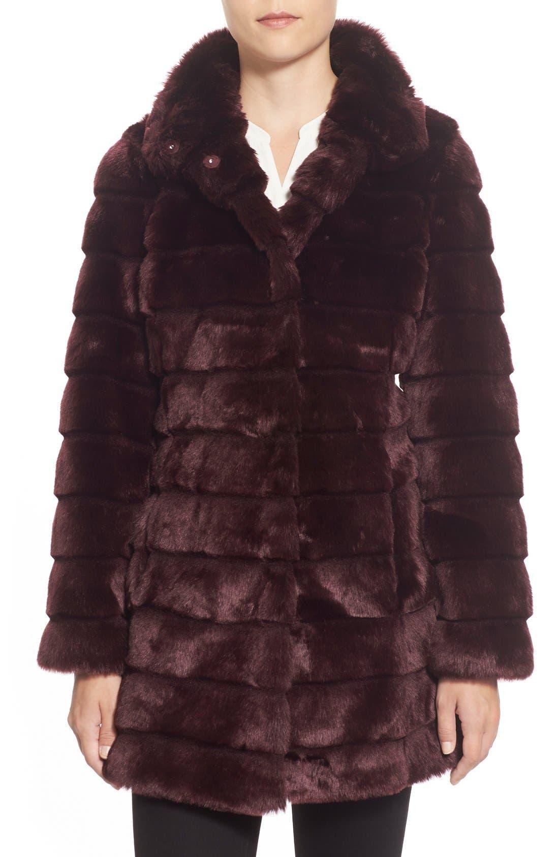 Main Image - Eliza J Grooved FauxFur Coat (Regular & Petite)