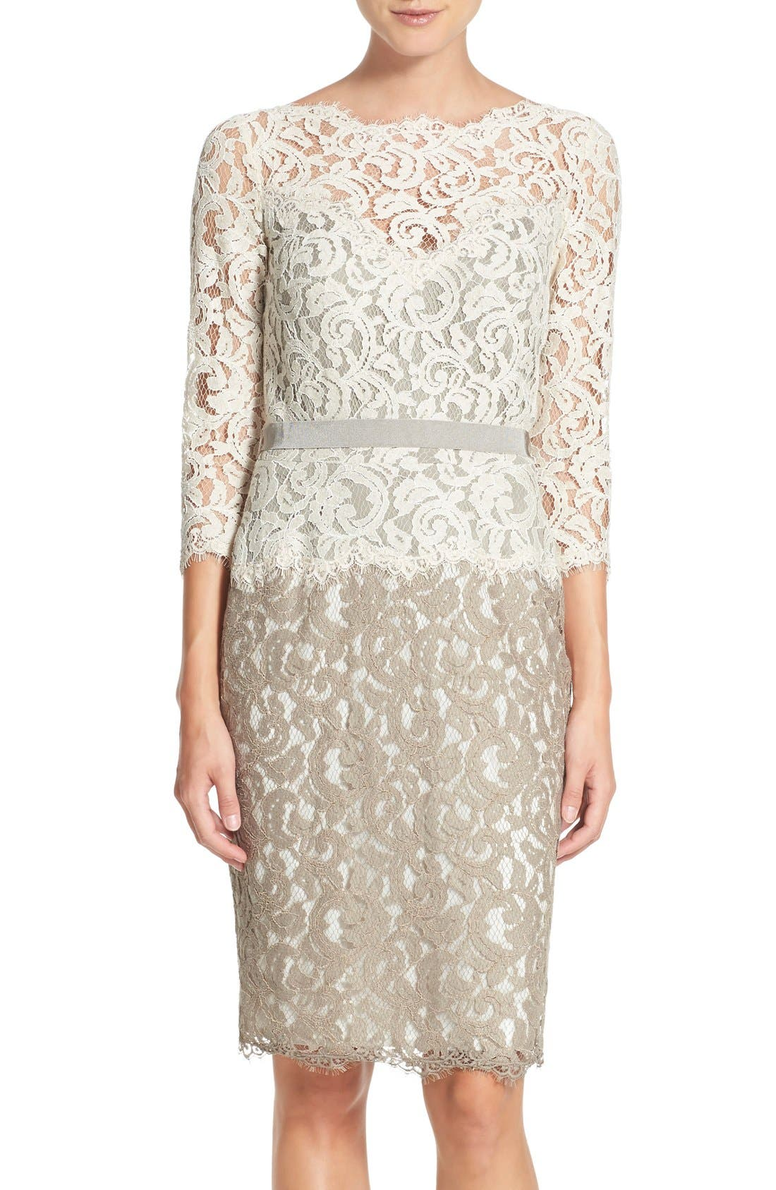 Alternate Image 1 Selected - Tadashi Shoji Two-Tone Lace Sheath Dress (Regular & Petite)