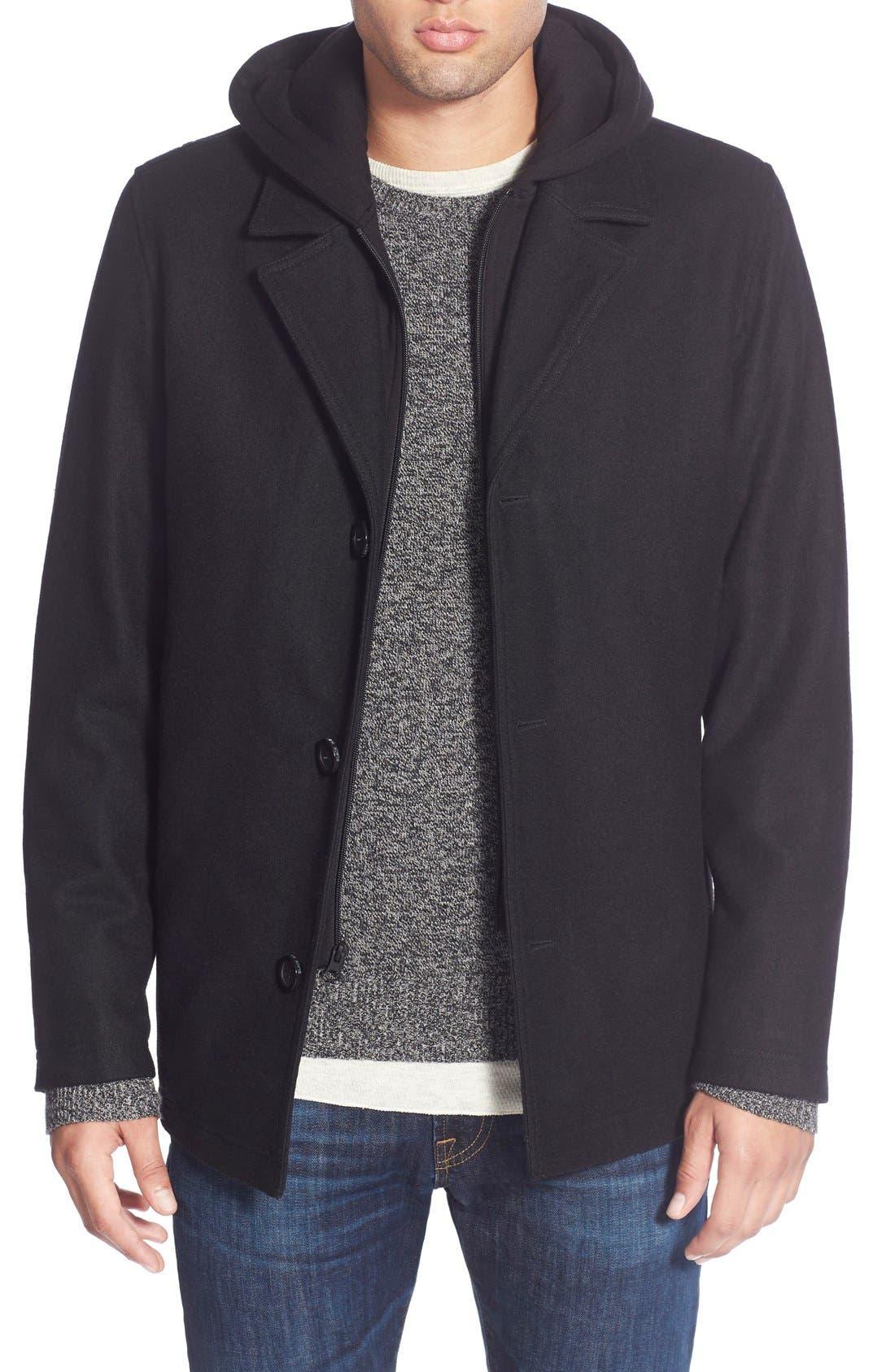 Main Image - Black Rivet Single Breasted Hooded Coat