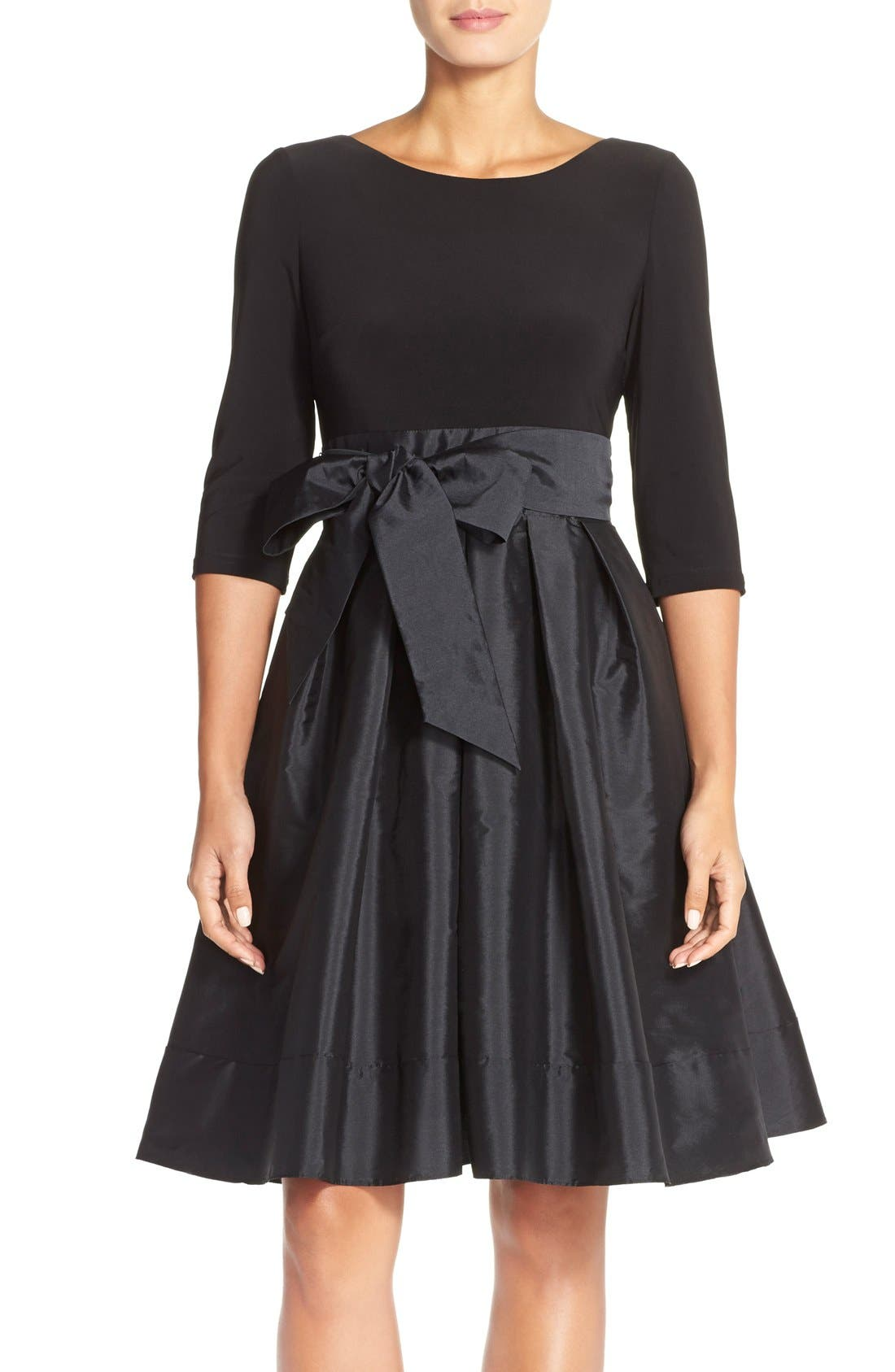 Main Image - Adrianna PapellBow Taffeta Fit & Flare Dress (Regular & Petite)