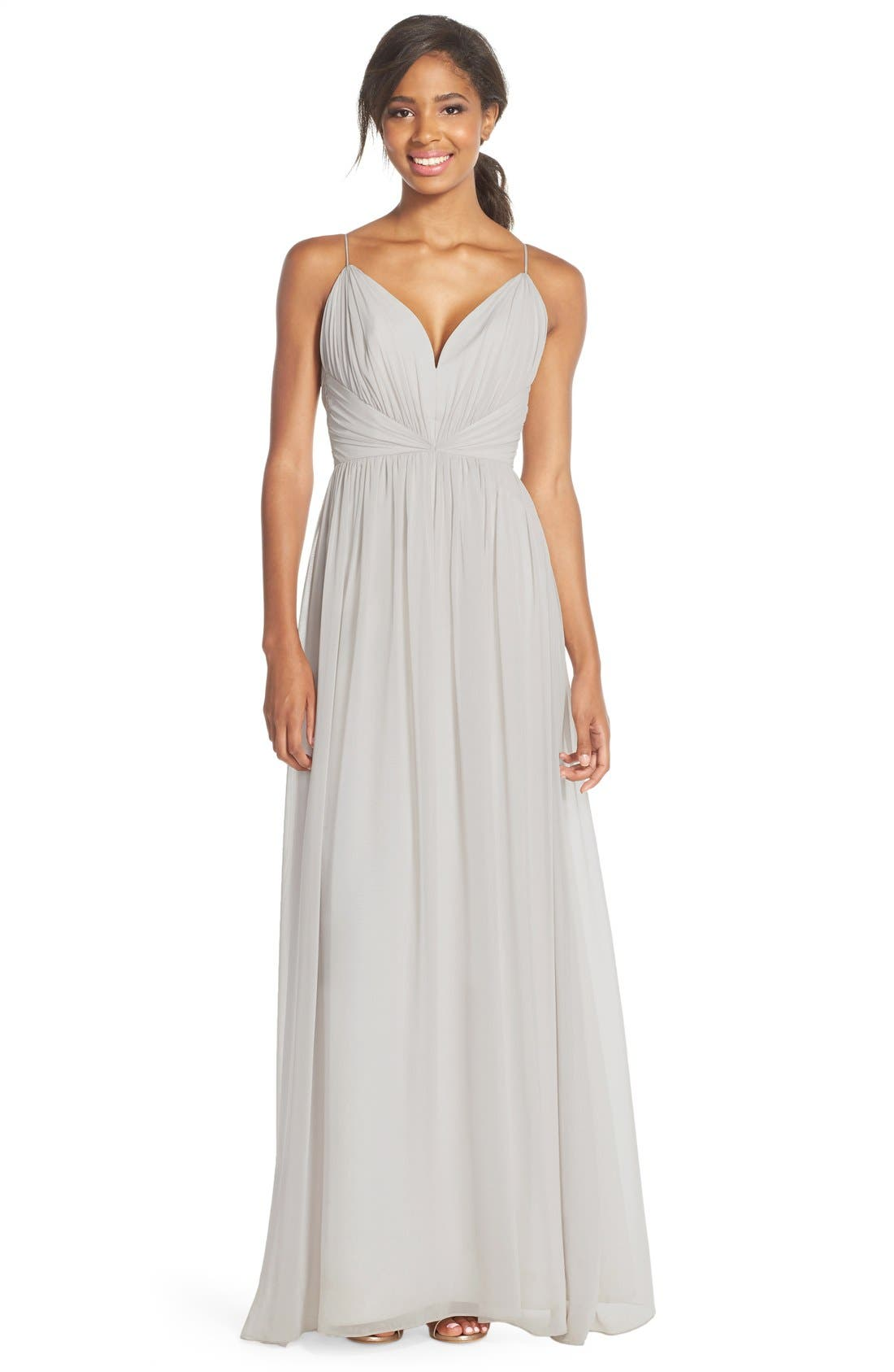 Jim Hjelm Occasions Draped V-Neck Chiffon Gown