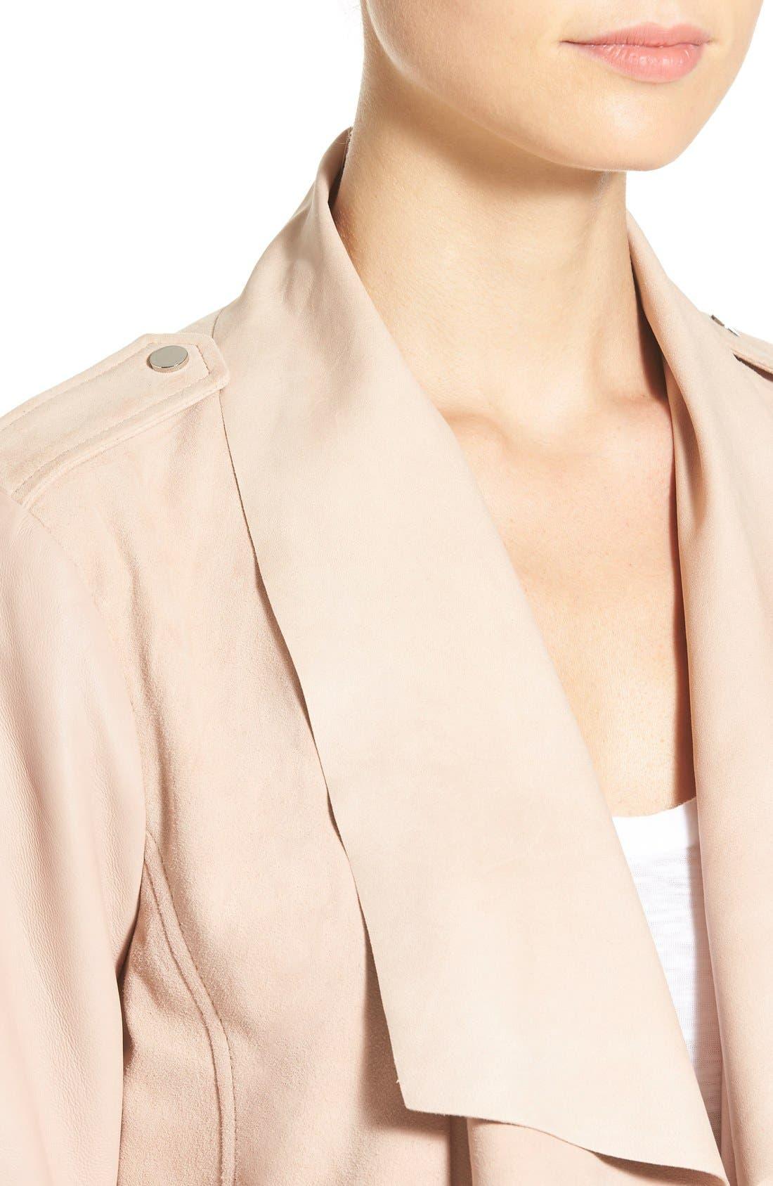 Alternate Image 4  - Bernardo Drape Front Suede & Leather Jacket