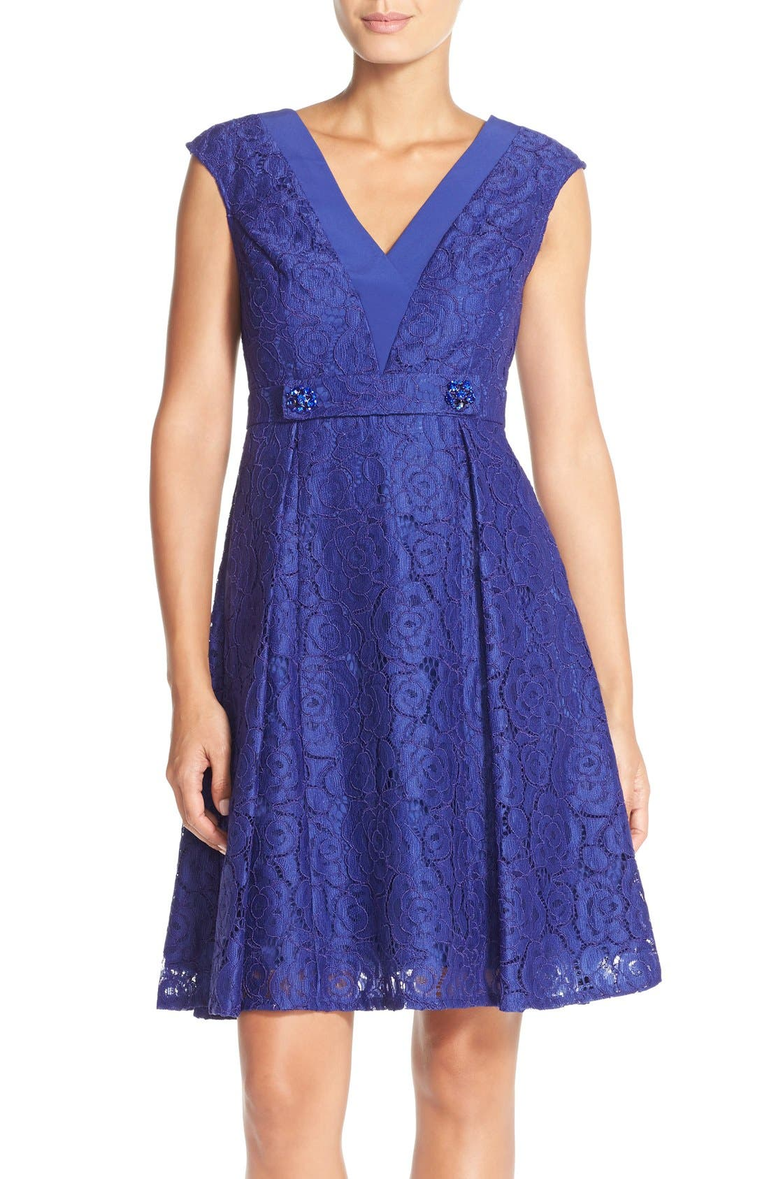 Alternate Image 1 Selected - Adrianna PapellEmbellished Lace Fit & Flare Dress