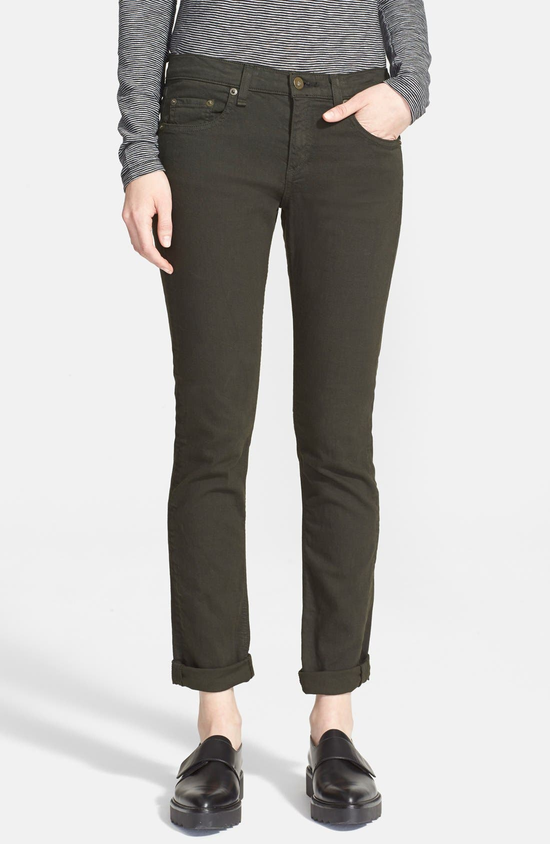 rag & bone/JEAN The Dre Slim Fit Boyfriend Jeans (Aged Dark Olive)