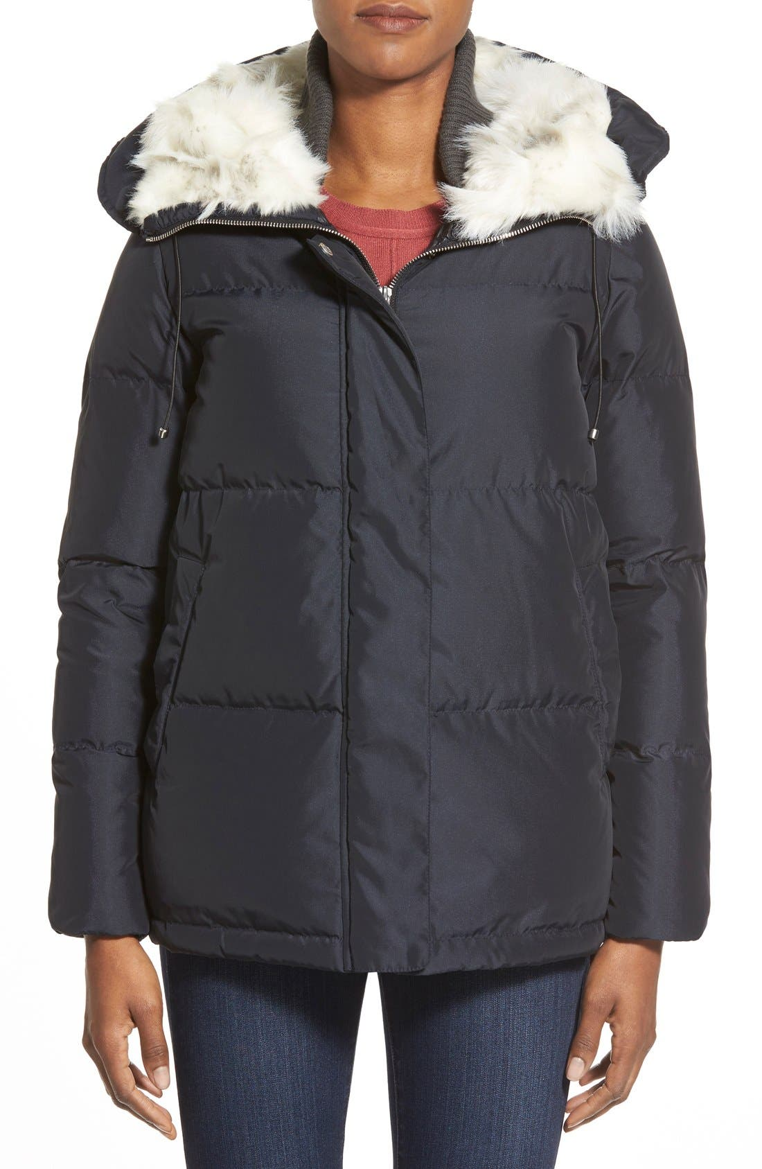 Main Image - Bernardo Hooded Down & Feather Fill Parka with Faux Fur Trim