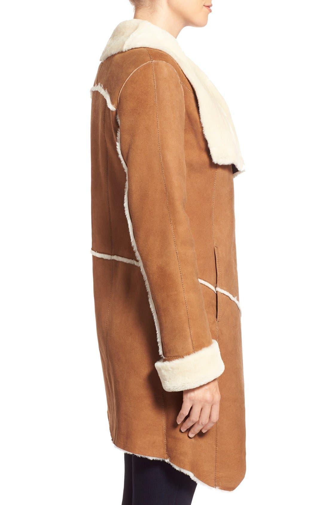 Alternate Image 3  - HiSO Asymmetrical Raw Edge Genuine Shearling Coat