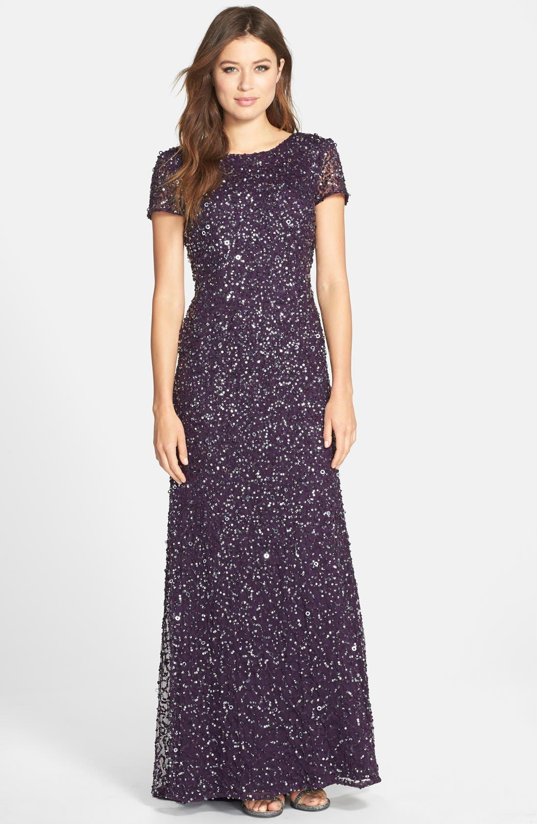 Alternate Image 1 Selected - Adrianna Papell Short Sleeve Sequin Mesh Gown (Regular & Petite)