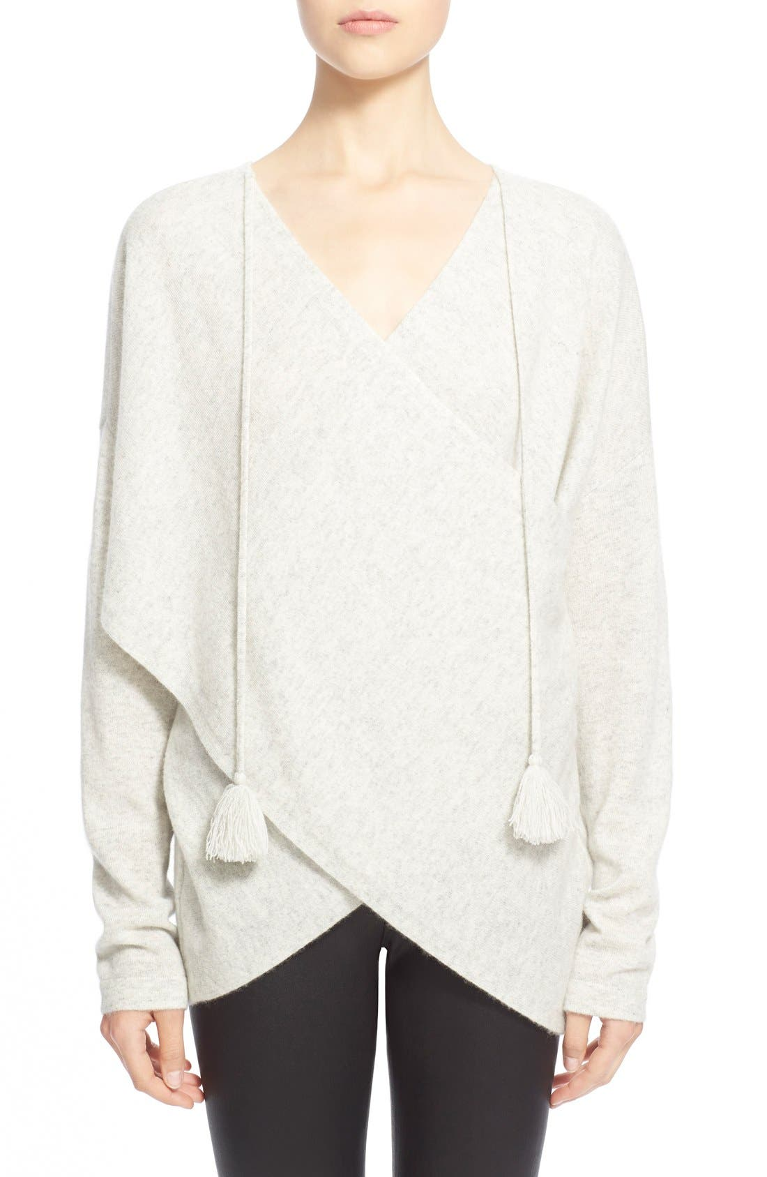 Alternate Image 1 Selected - Derek Lam 10 Crosby Tasseled Cross Front Cashmere Sweater