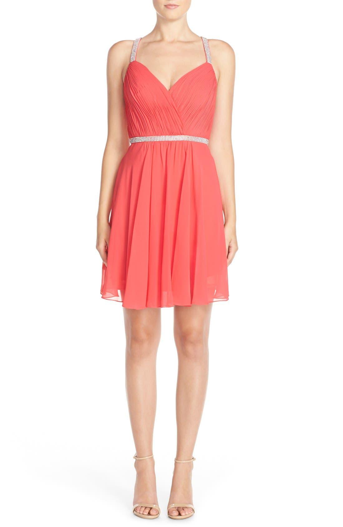 Alternate Image 1 Selected - FavianaEmbellished Chiffon Fit& Flare Dress