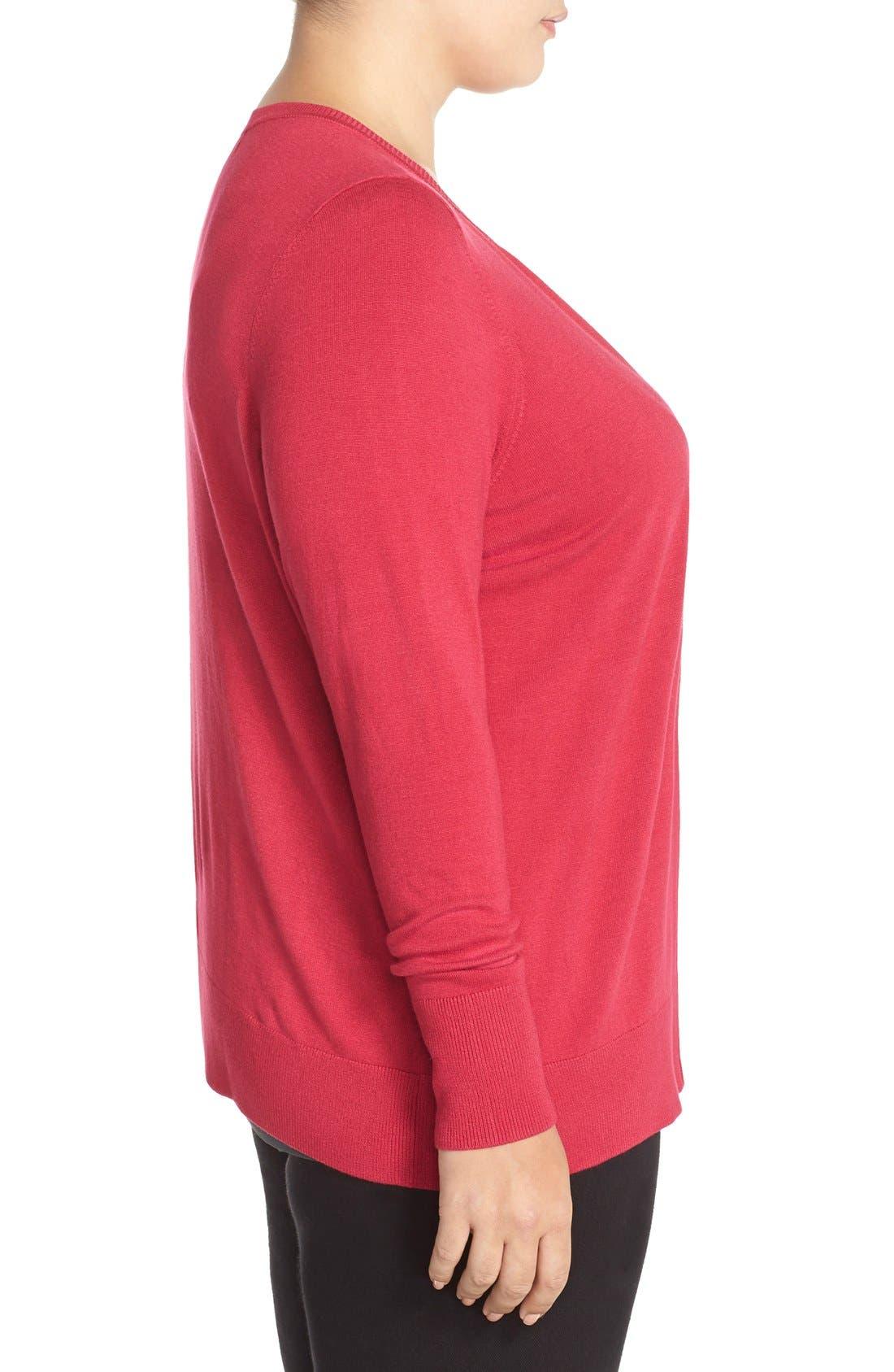 Alternate Image 3  - Sejour Crewneck Cardigan (Plus Size)