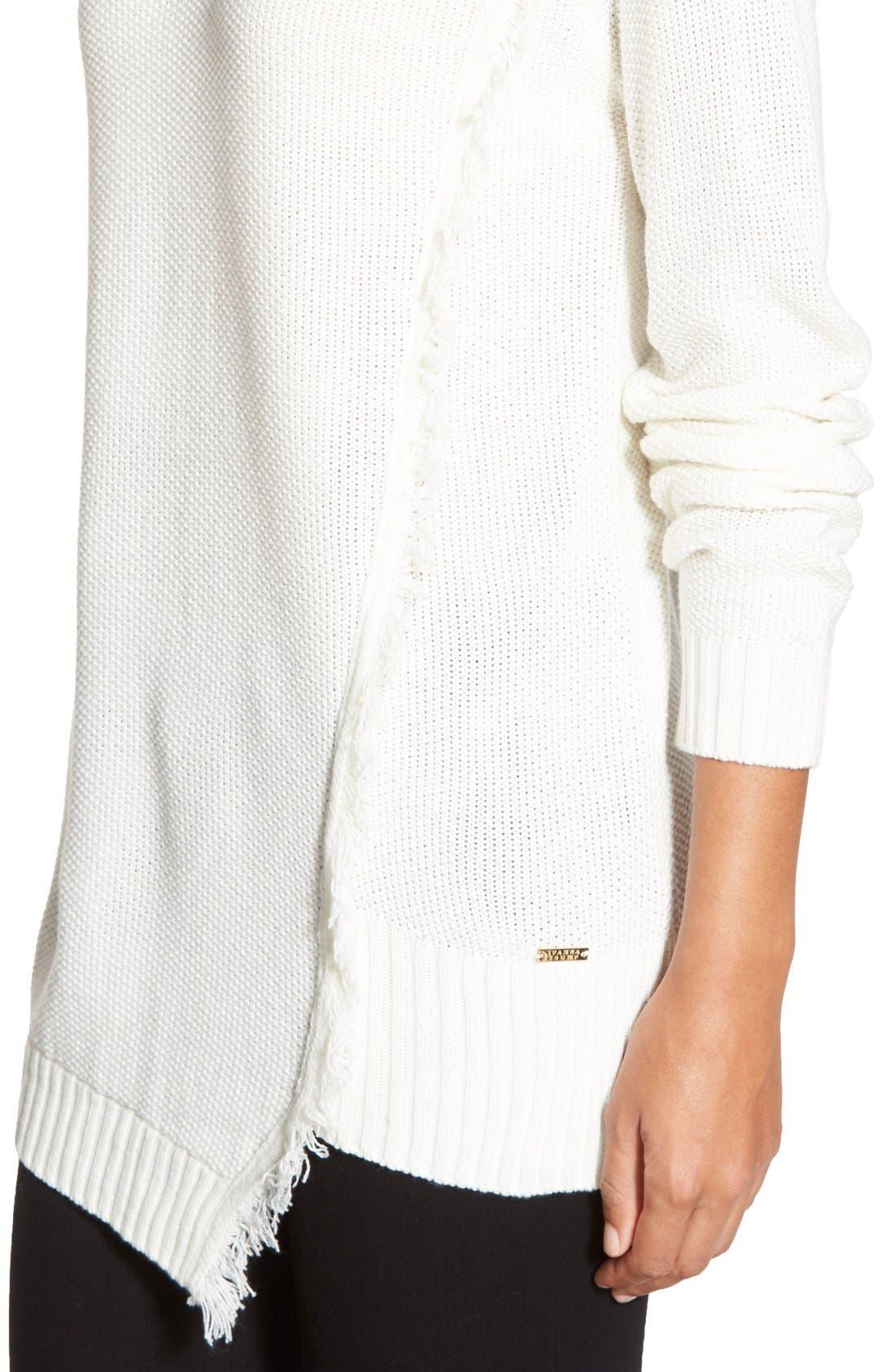 Alternate Image 4  - Ivanka Trump Fringe Trim Asymmetrical Sweater