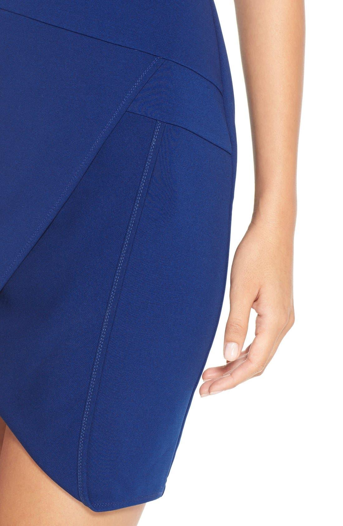 Alternate Image 5  - Adelyn Rae Split Front Ponte Body-Con Dress