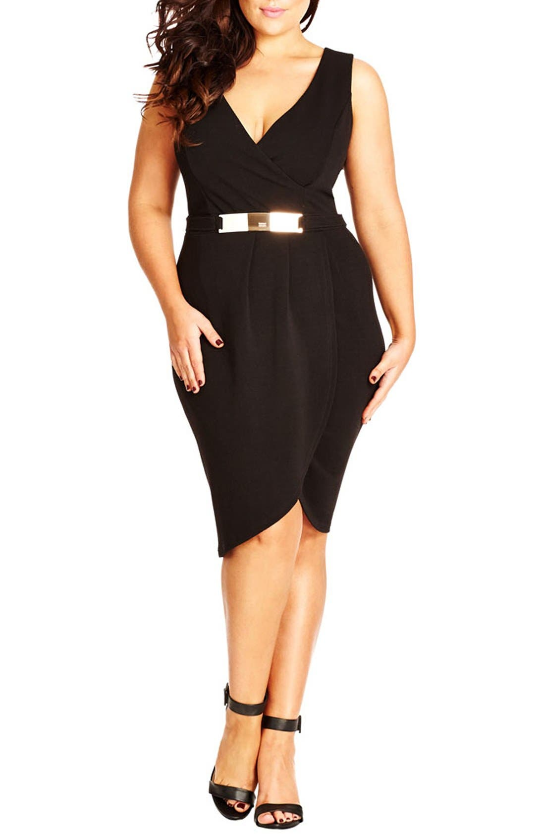 Alternate Image 1 Selected - City Chic 'Magic Wrap' Sleeveless Faux Wrap Dress (Plus Size)