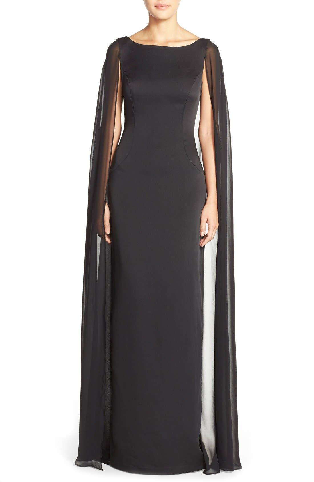 Main Image - Adrianna PapellSatin Column Gown withChiffon Cape