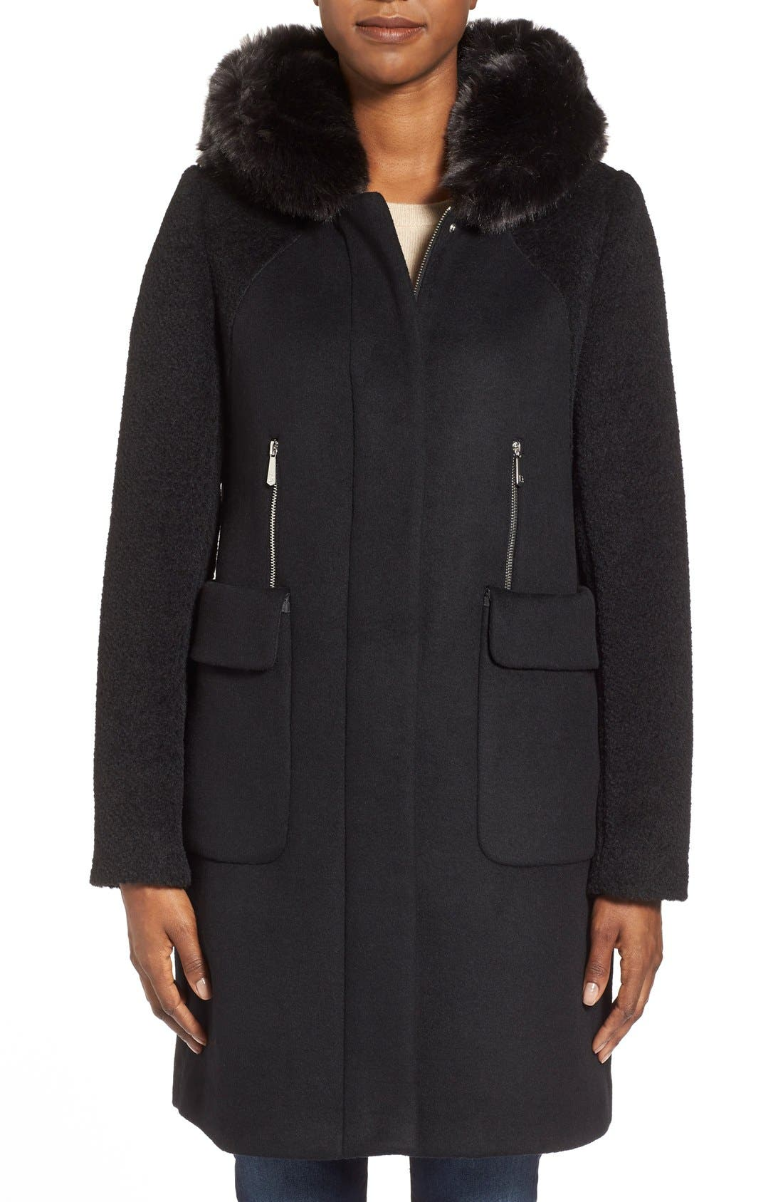 Main Image - Dawn Levy 'Lara' Mixed Media Wool Blend Coat withFauxFur Hood