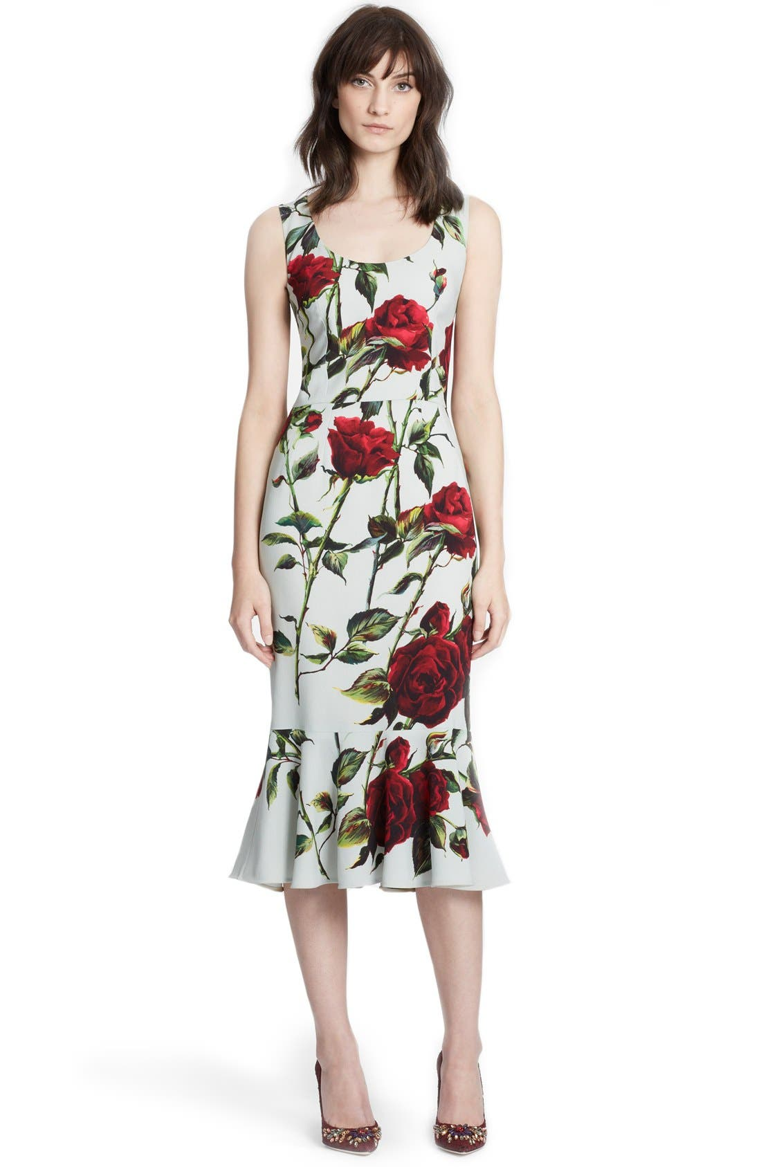 Alternate Image 1 Selected - Dolce&Gabbana Rose Print Cady Sheath Dress