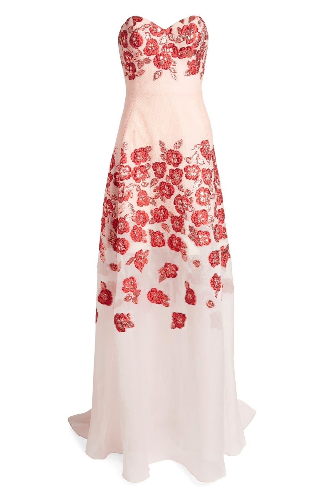 Alternate Image 4  - Lela Rose Strapless Floral FilCoupéGown