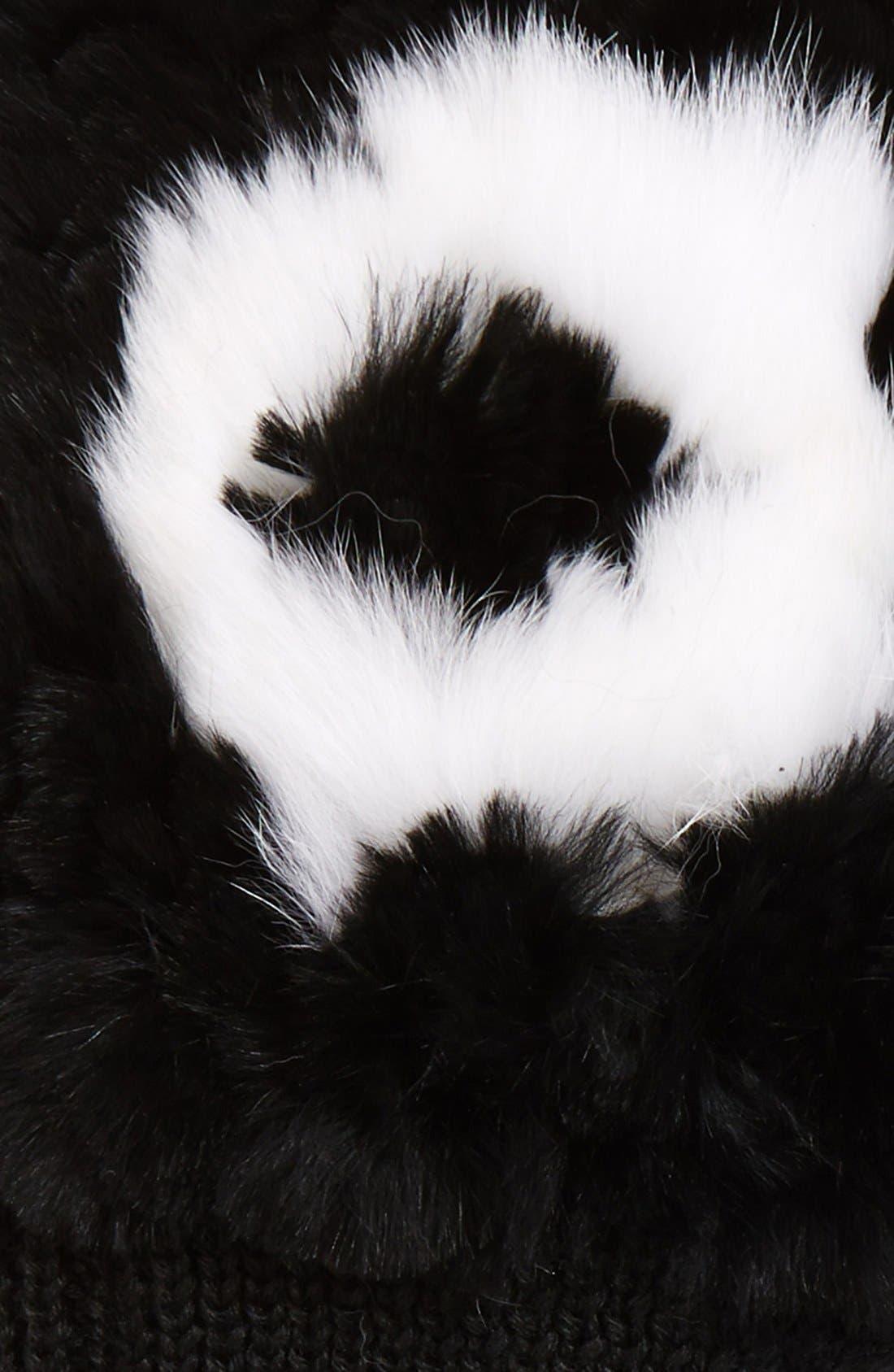 Alternate Image 2  - Jocelyn 'XO' Genuine Rex Rabbit Fur Trim FingerlessMittens