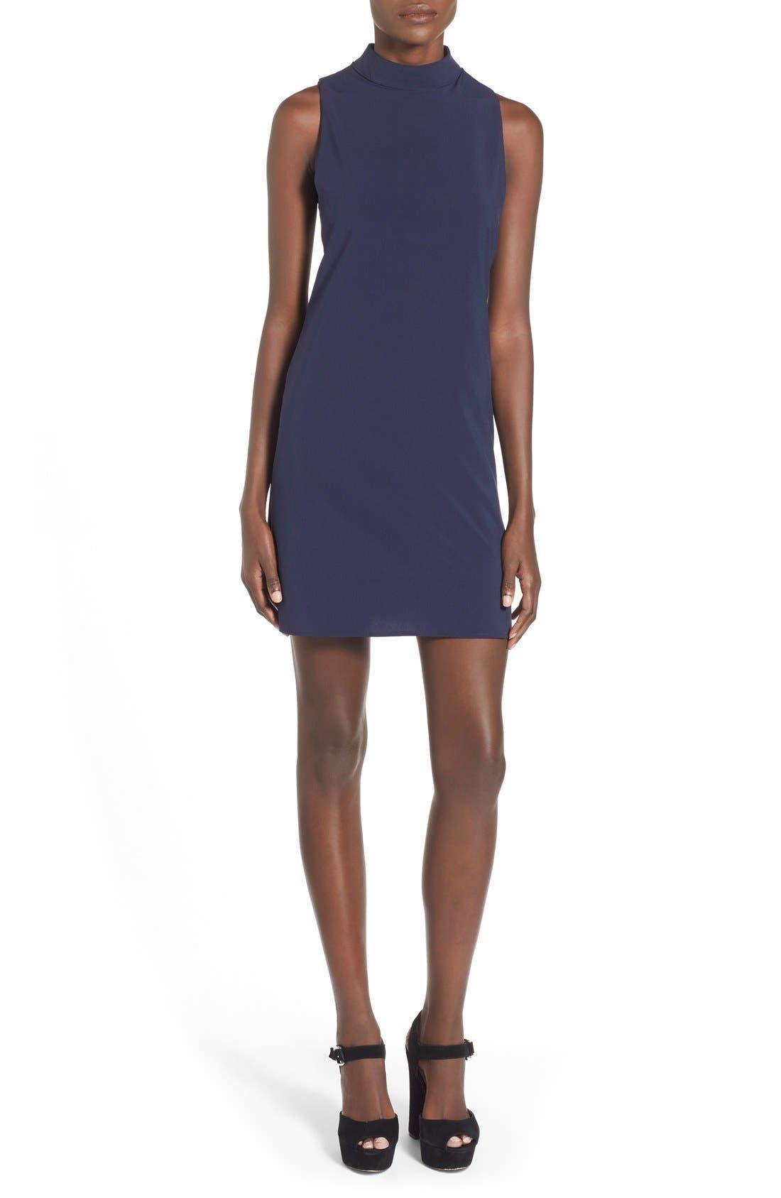 Main Image - 4SI3NNA 'Side Bar' Mock Neck Shift Dress
