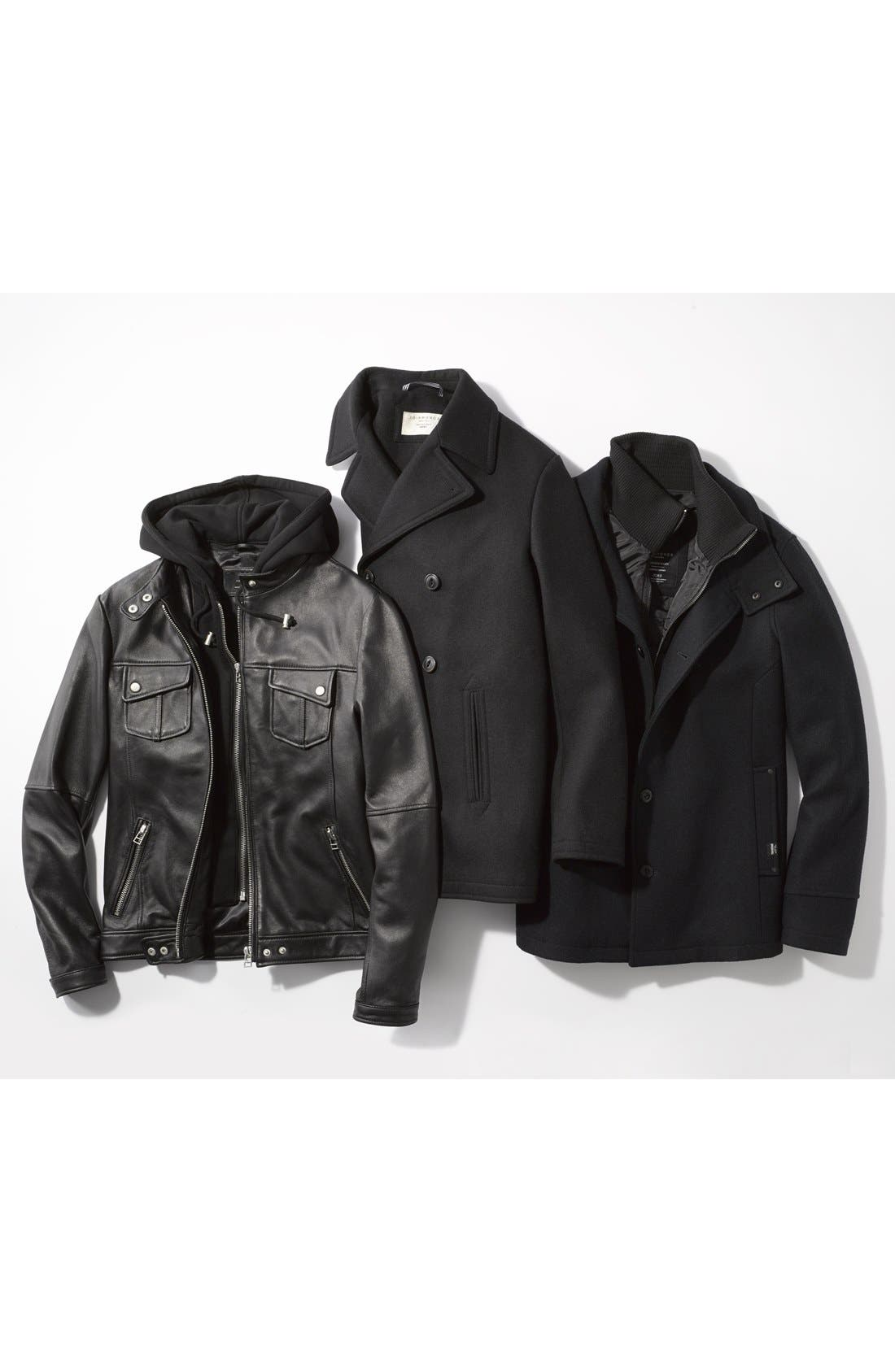 Alternate Image 4  - 7 Diamonds 'Los Angeles' Trim Fit Leather Moto Jacket with Inset Hood (Online Only)