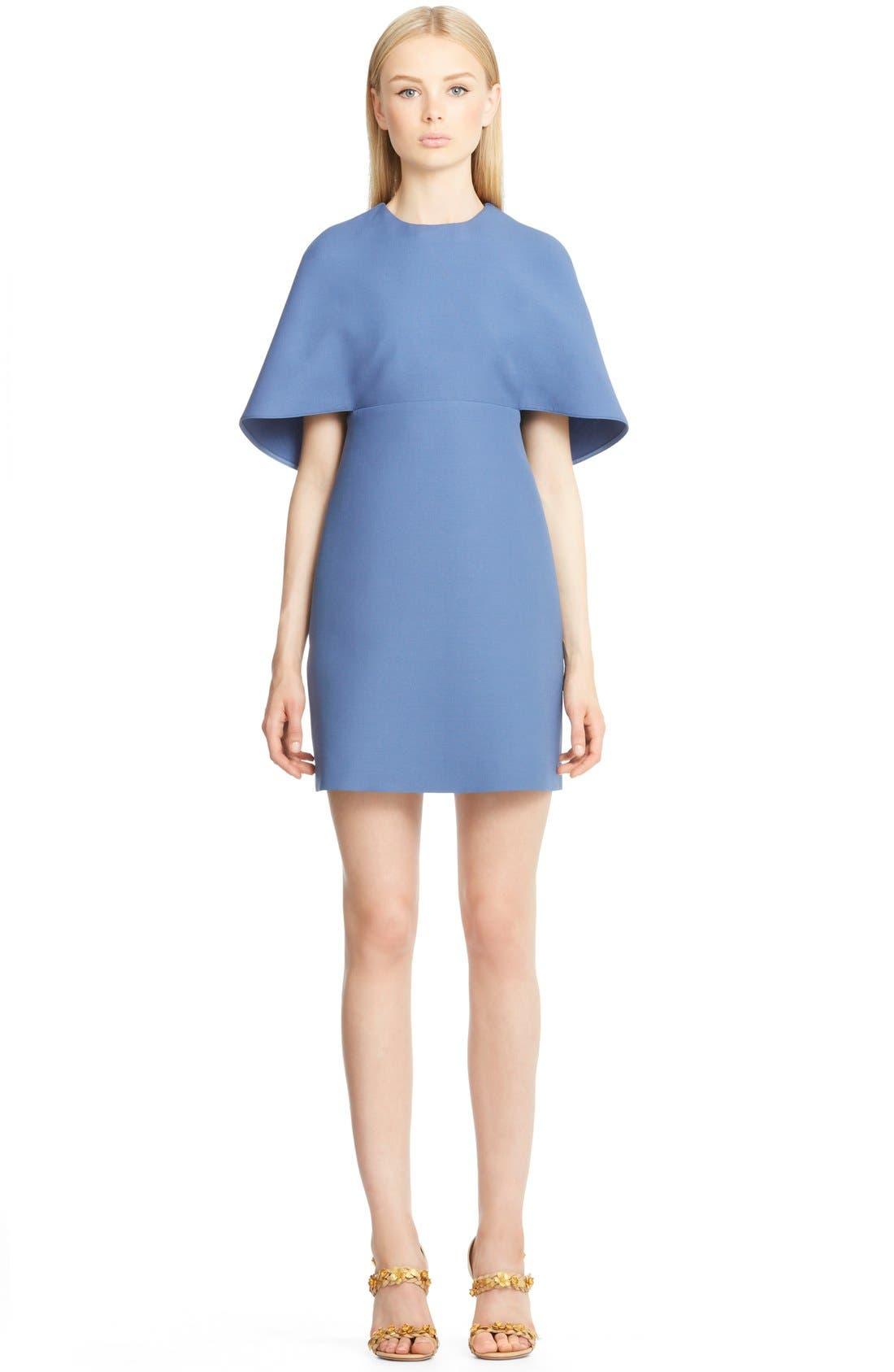 Main Image - Valentino Cape Back Wool & Silk Sheath Dress
