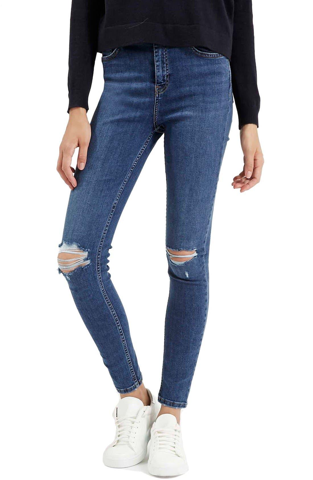 Alternate Image 1 Selected - Topshop Moto 'Jamie' Ripped Ankle Jeans (Mid Denim) (Regular & Short)