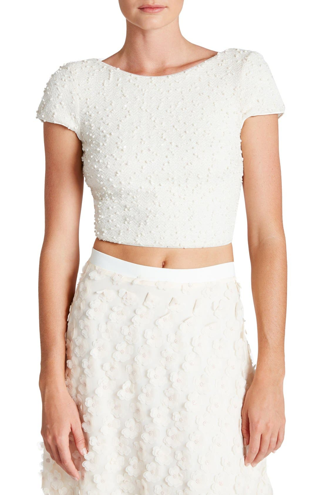 Main Image - Dress the Population 'Paloma' Sequin Knit Crop Top