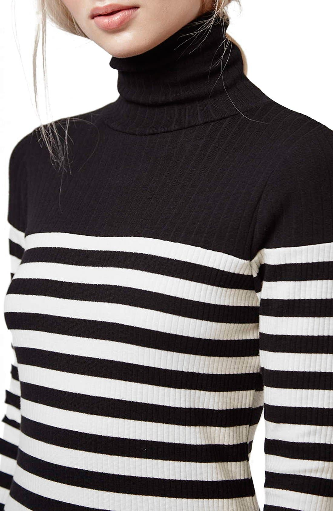 Alternate Image 4  - Topshop Turtleneck Long Sleeve Body-Con Dress (Petite)