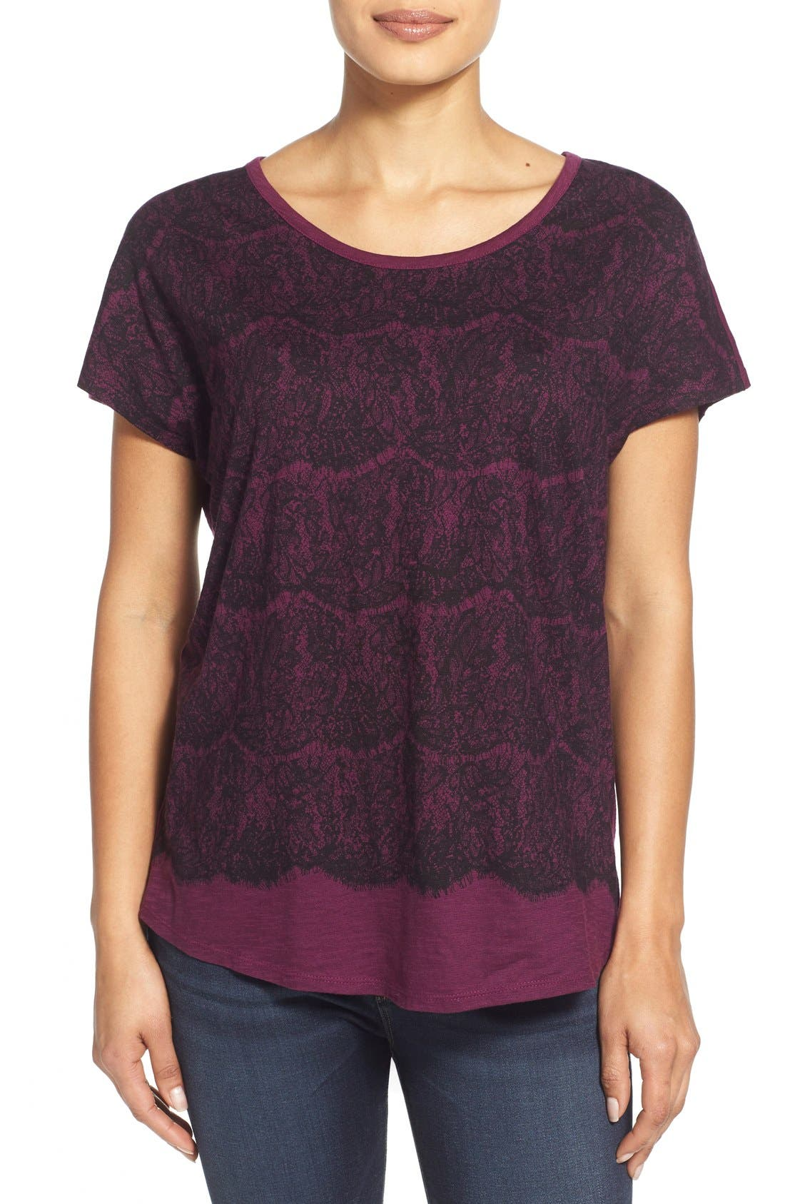Alternate Image 1 Selected - Two by Vince Camuto Lace Graphic Cotton Tee