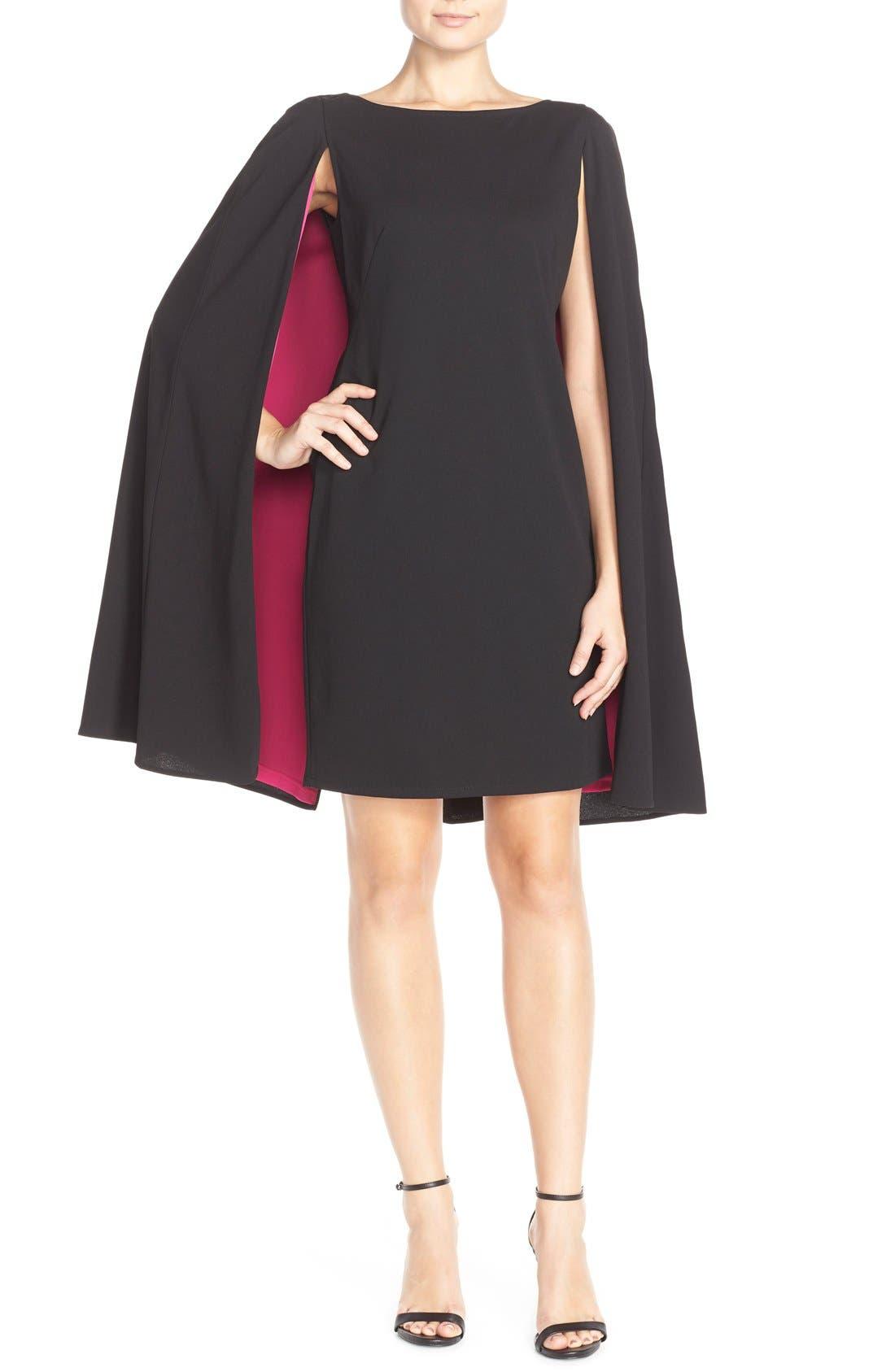 Alternate Image 4  - Adrianna Papell Cape Sheath Crepe Dress