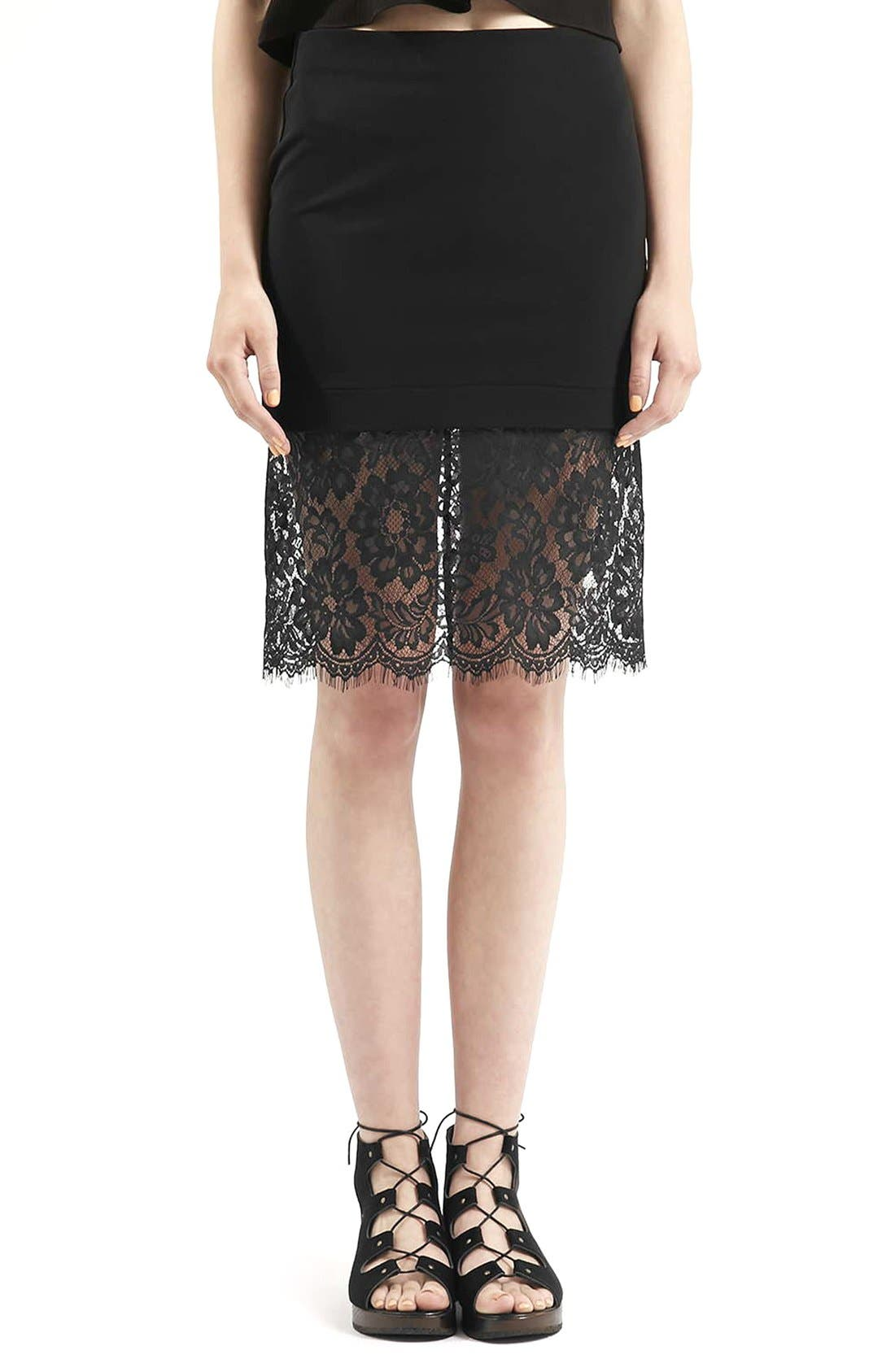 Alternate Image 1 Selected - Topshop Lace Hem Body-Con Skirt