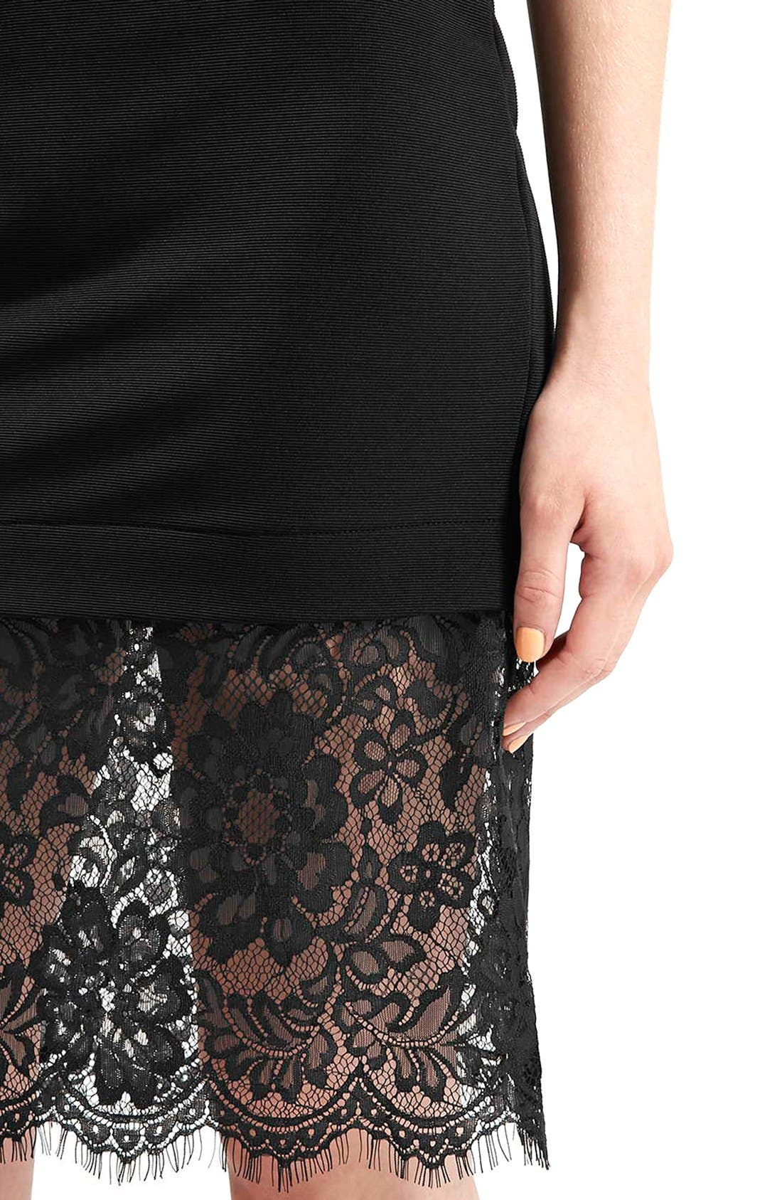 Alternate Image 4  - Topshop Lace Hem Body-Con Skirt