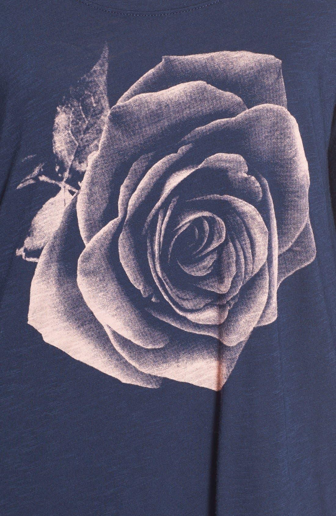 Alternate Image 5  - Lucky Brand Photographic Rose Print Tee