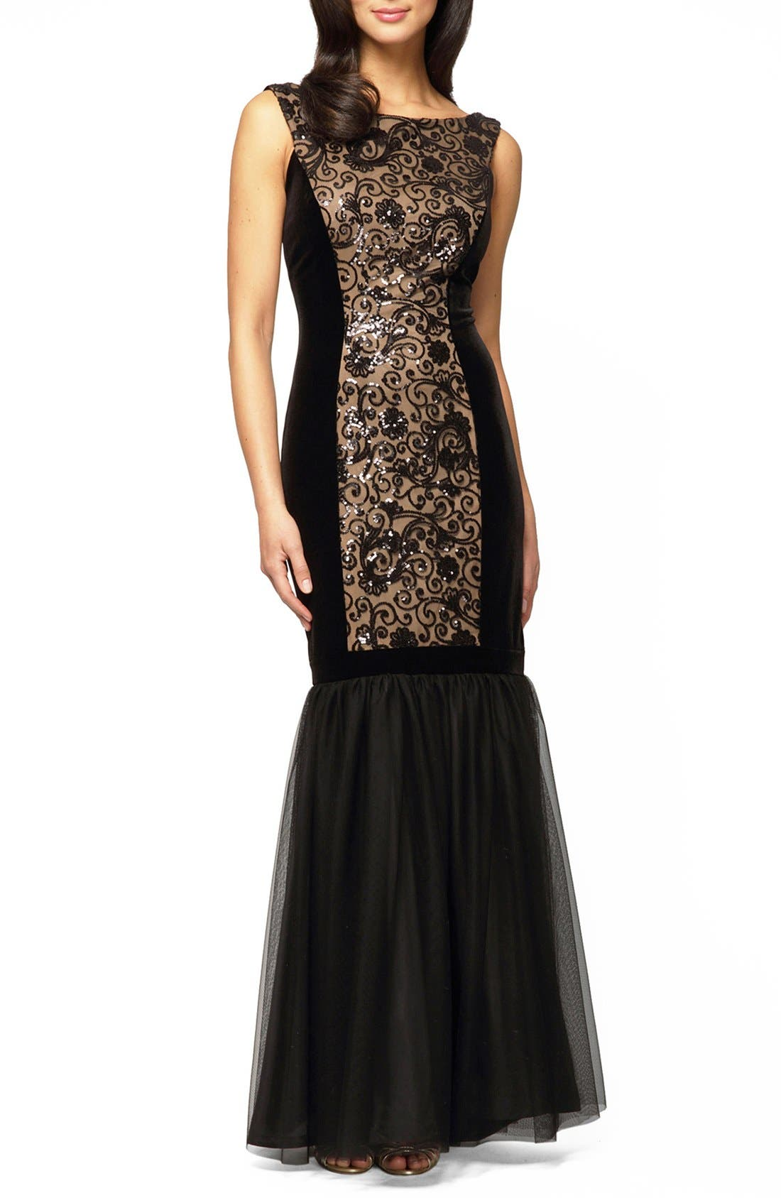 Alex Evenings Embellished Mixed Media Mermaid Gown