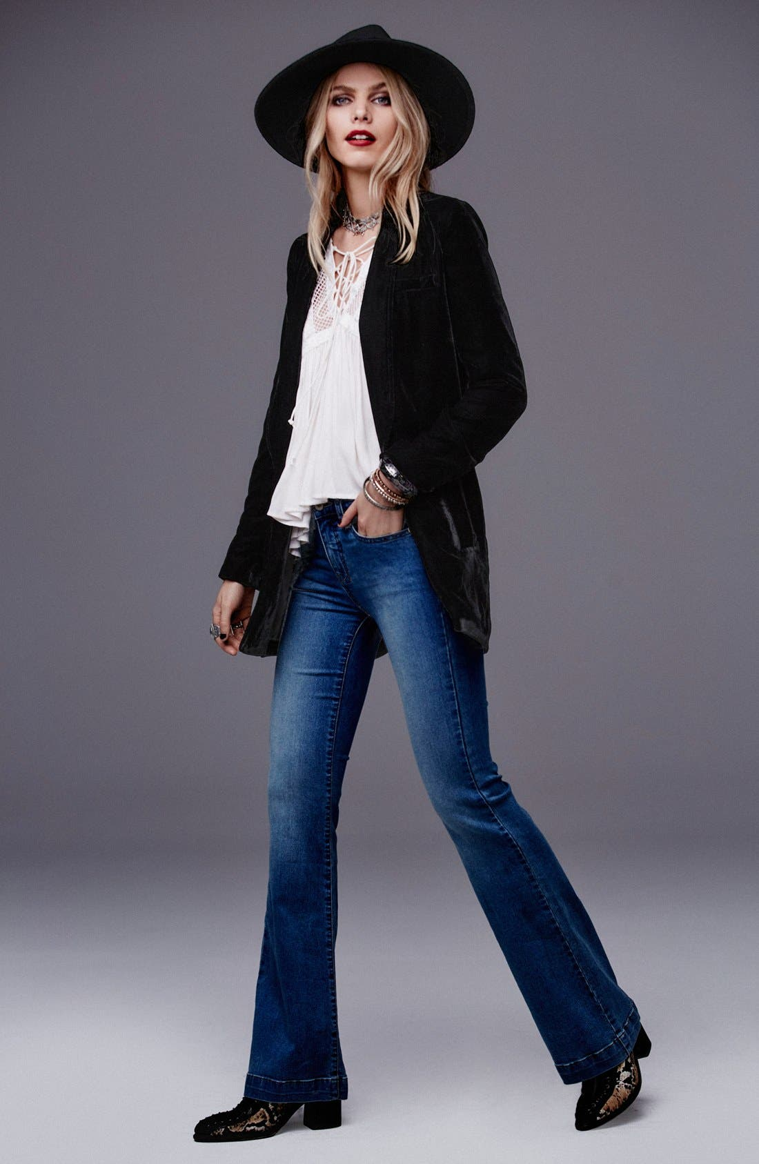 Alternate Image 6  - Free People Stretch Mid Rise Flare Jeans