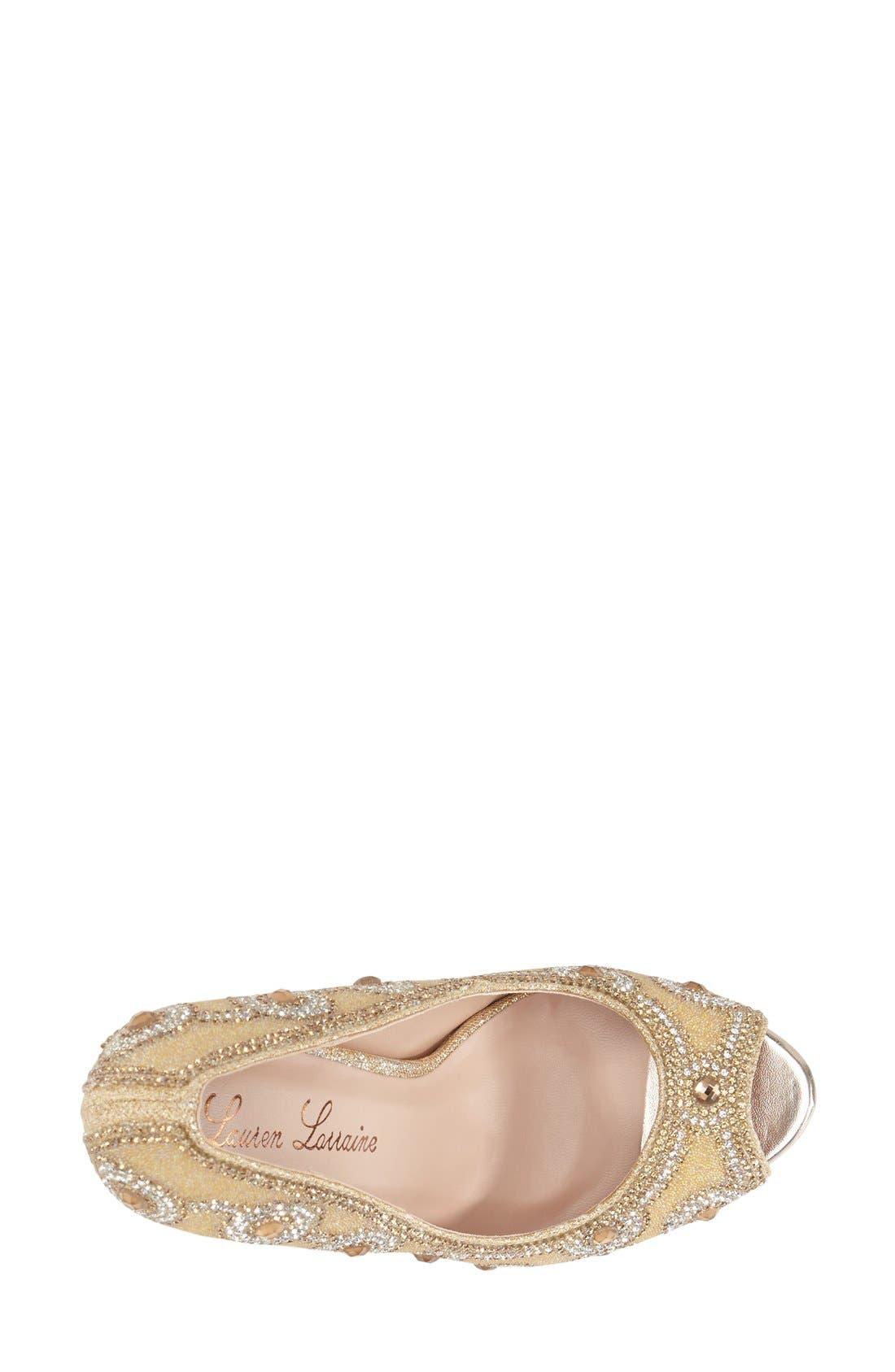 Alternate Image 3  - Lauren Lorraine 'Elenor' Crystal Embellished Peep Toe Pump (Women)