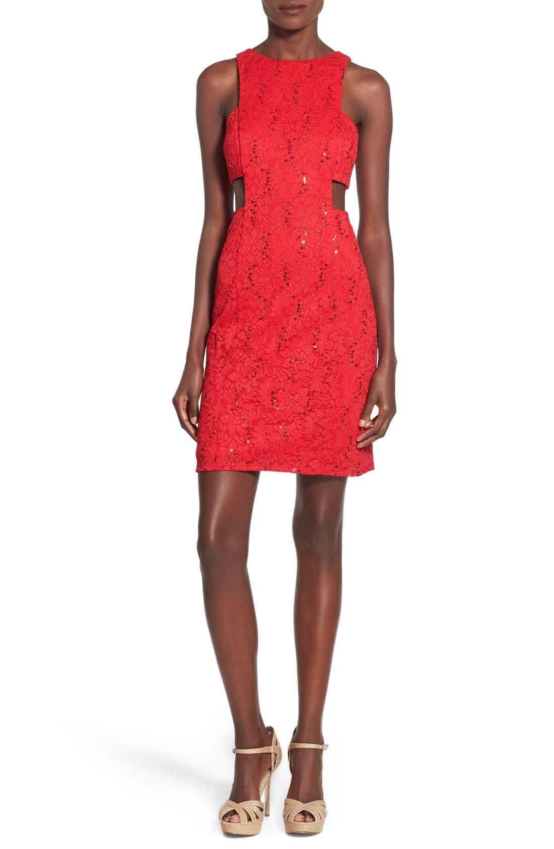 Main Image - Morgan & Co. Side Cutout Sequin Lace Dress