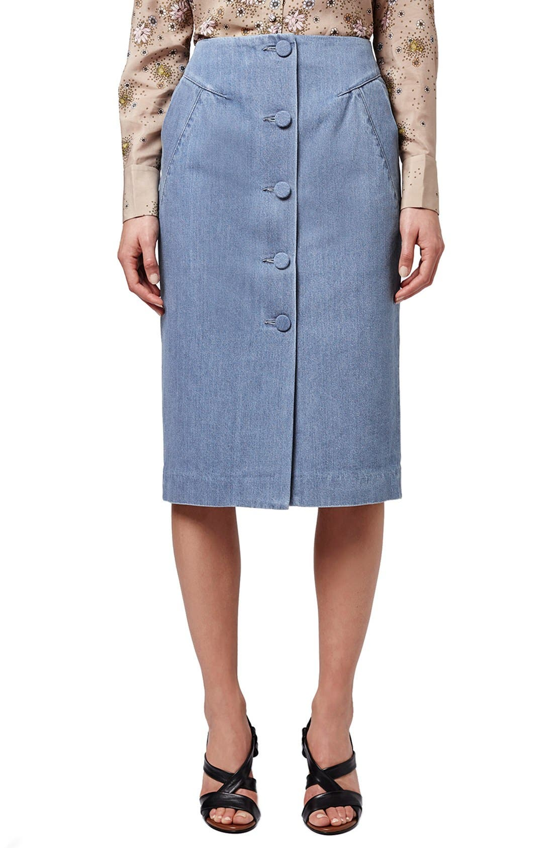 Main Image - Topshop Unique 'Whitcomb' Button Front Denim Midi Skirt