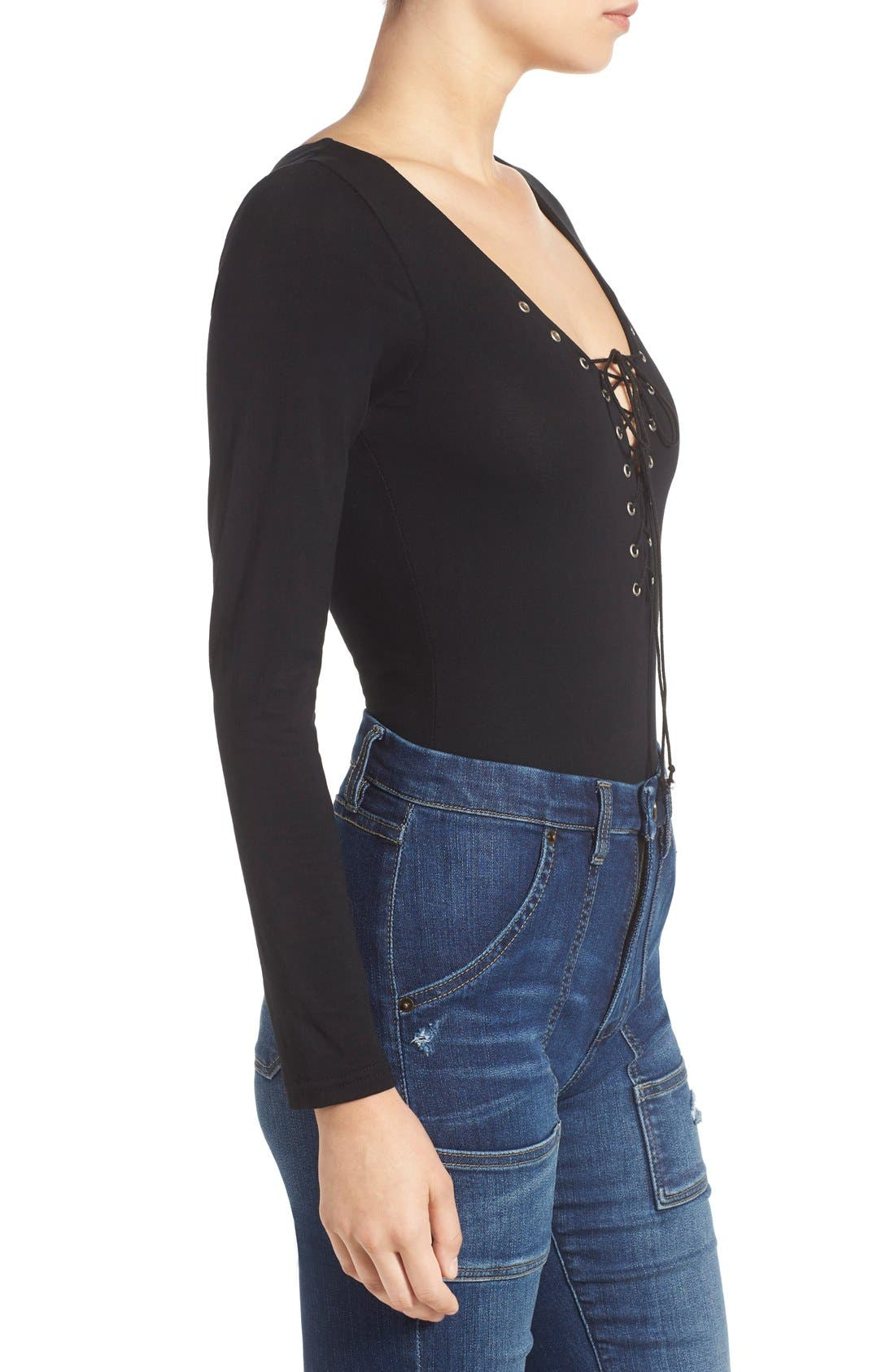 Alternate Image 4  - Glamorous Long Sleeve Lace-Up Bodysuit