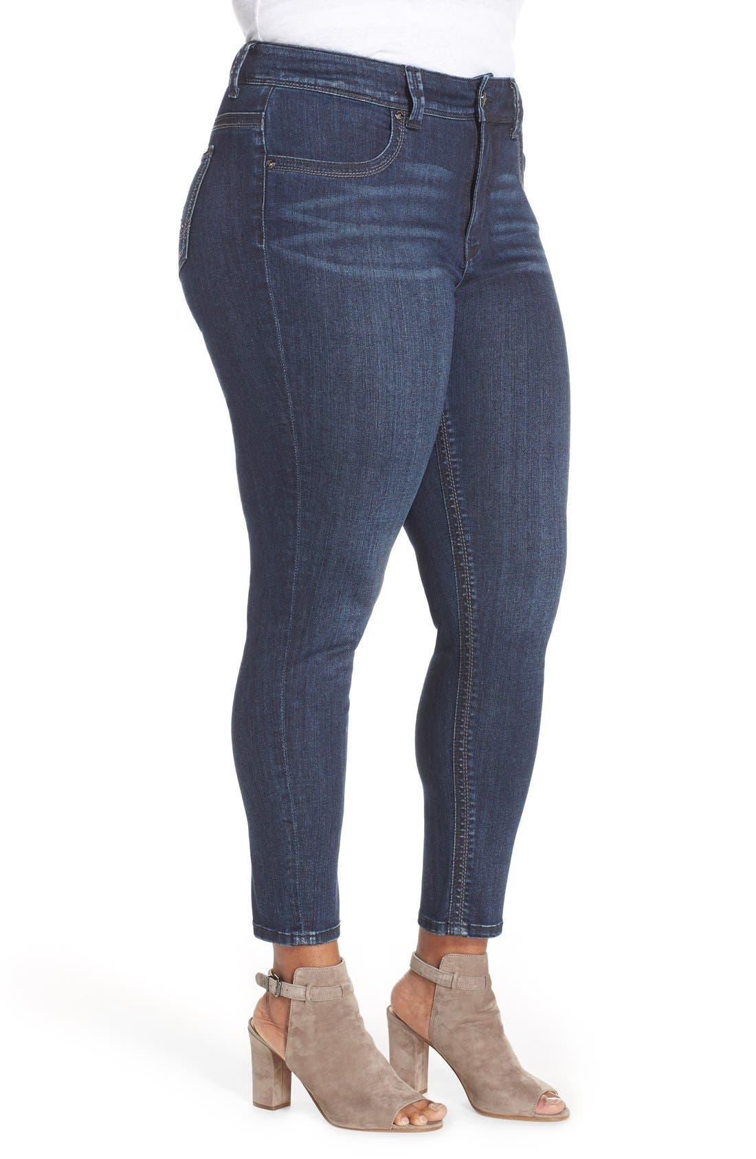 Alternate Image 3  - Melissa McCarthy Seven7 High Rise Pencil Jeans (Blissful) (Plus Size)