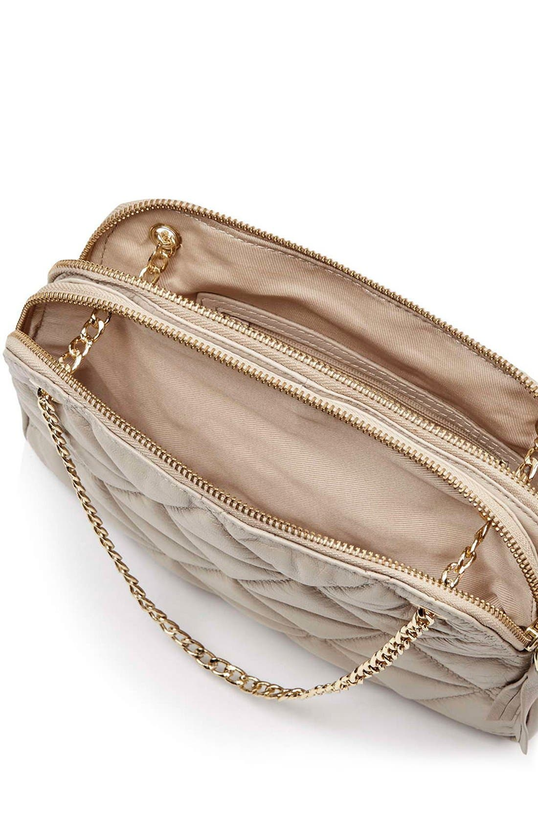 Alternate Image 4  - Topshop Quilted Leather Shoulder Bag